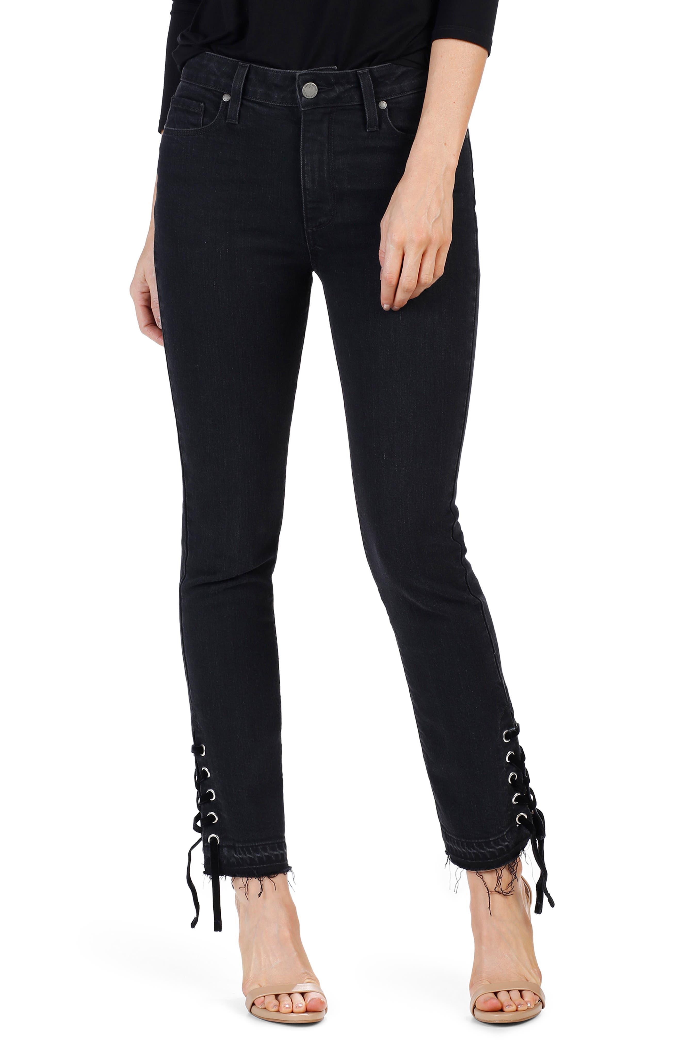 Jacqueline High Waist Straight Leg Jeans,                         Main,                         color, Lacey Noir