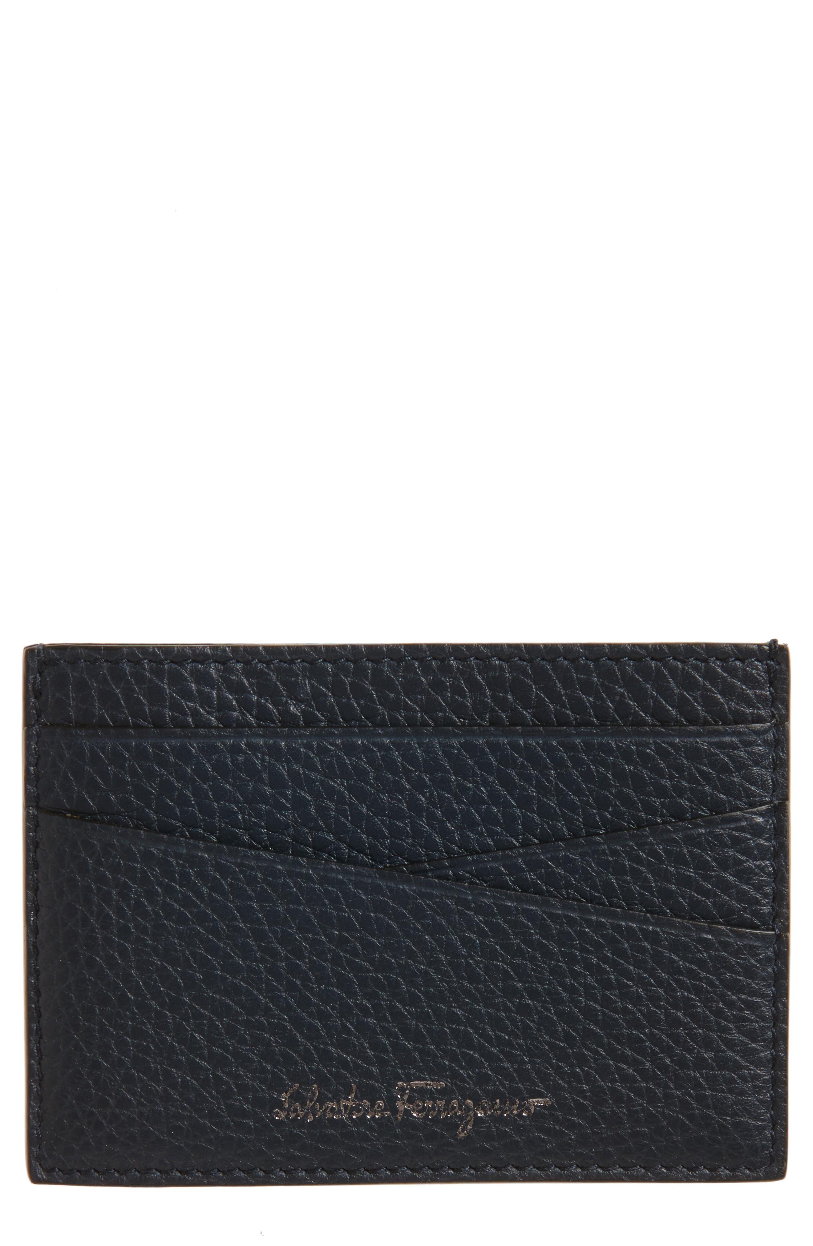 Leather Card Case,                             Main thumbnail 1, color,                             Lavagna Blue/ Grey