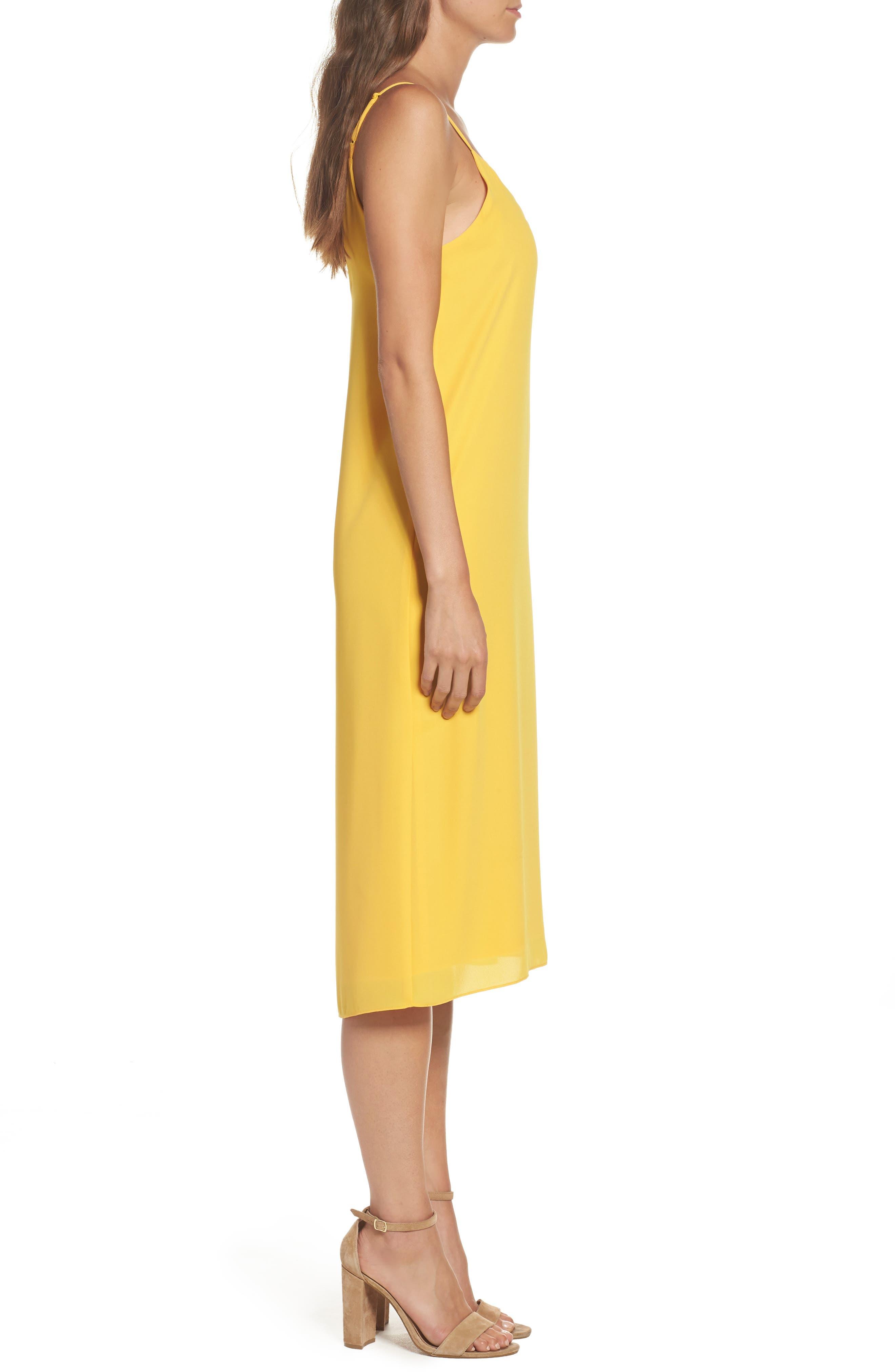 Dobby Midi Dress,                             Alternate thumbnail 3, color,                             Golden