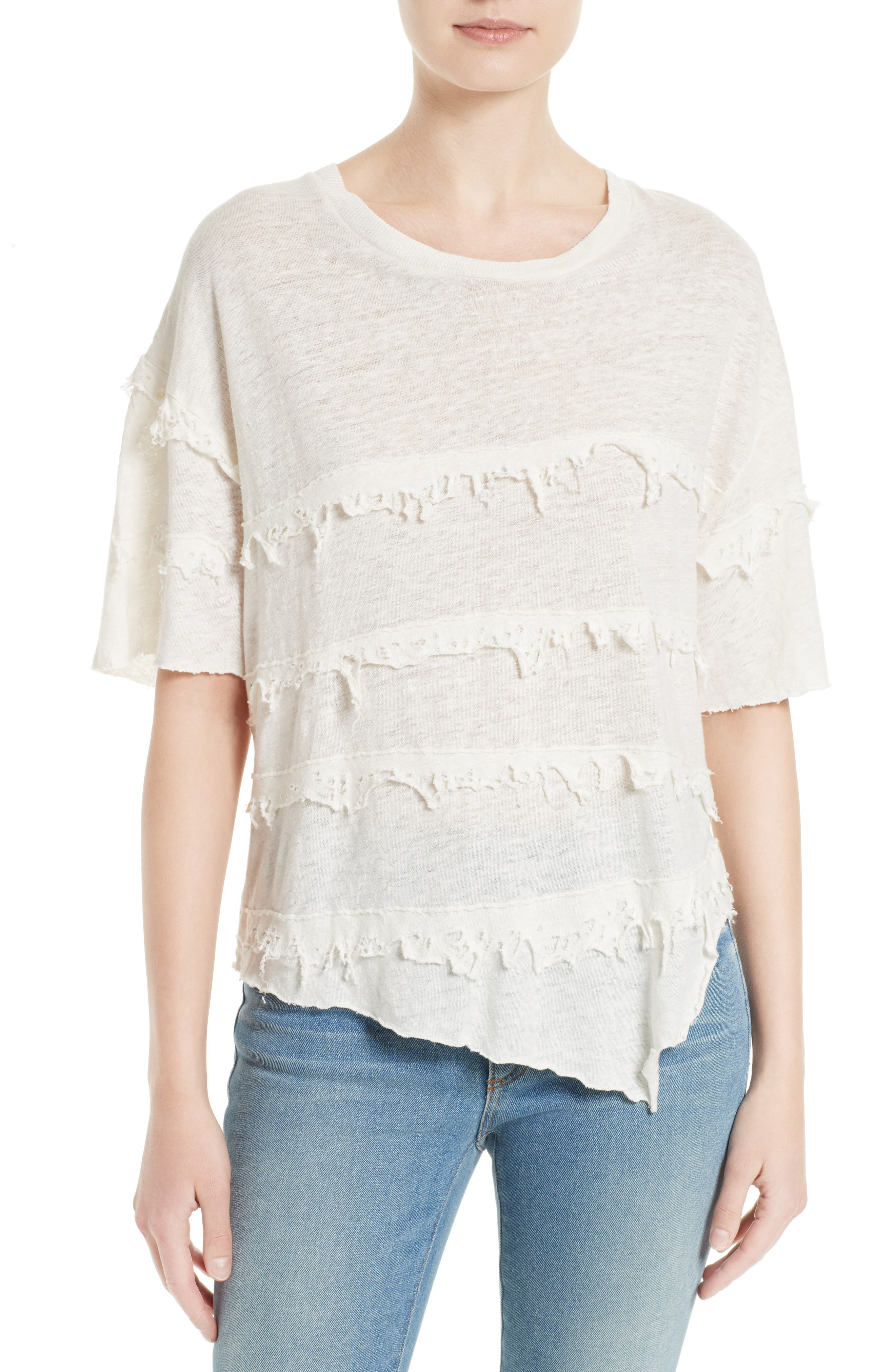 IRO Birtie Distressed Ruffle Linen Tee