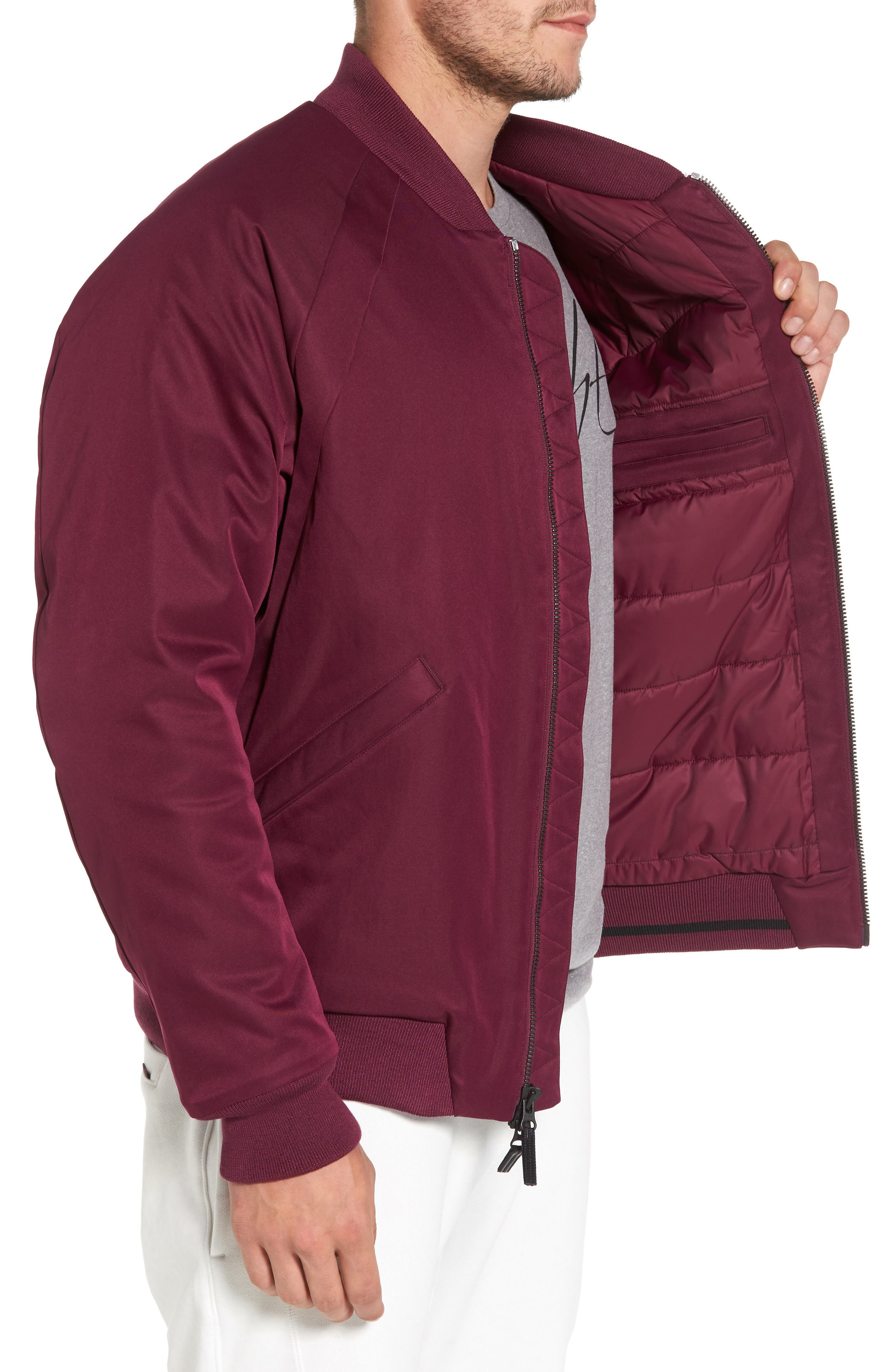 Sportswear Wings MA-1 Bomber Jacket,                             Alternate thumbnail 3, color,                             Bordeaux/ Black