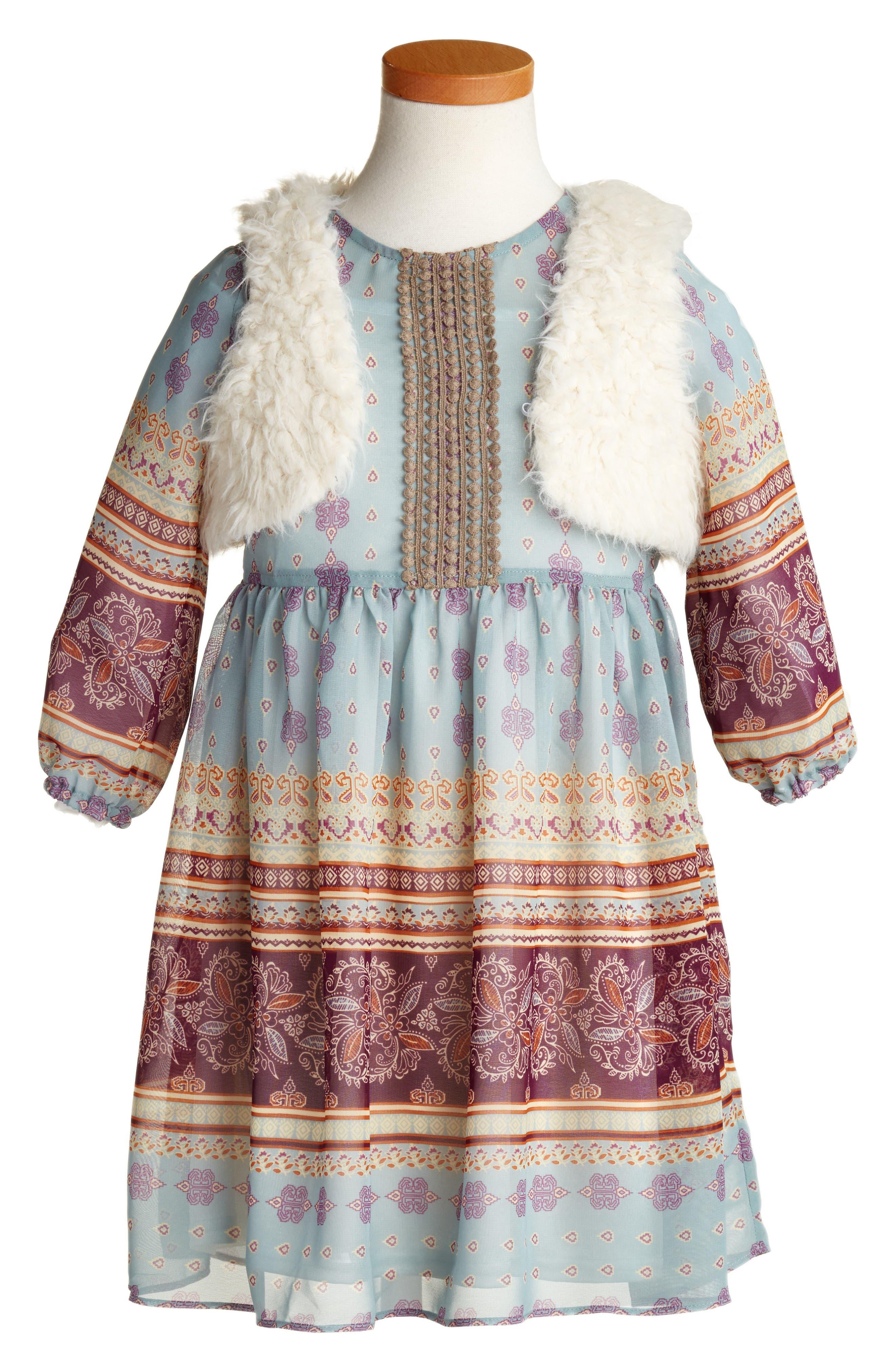 Pippa & Julie Print Boho Dress & Faux Fur Vest (Toddler Girls & Little Girls)