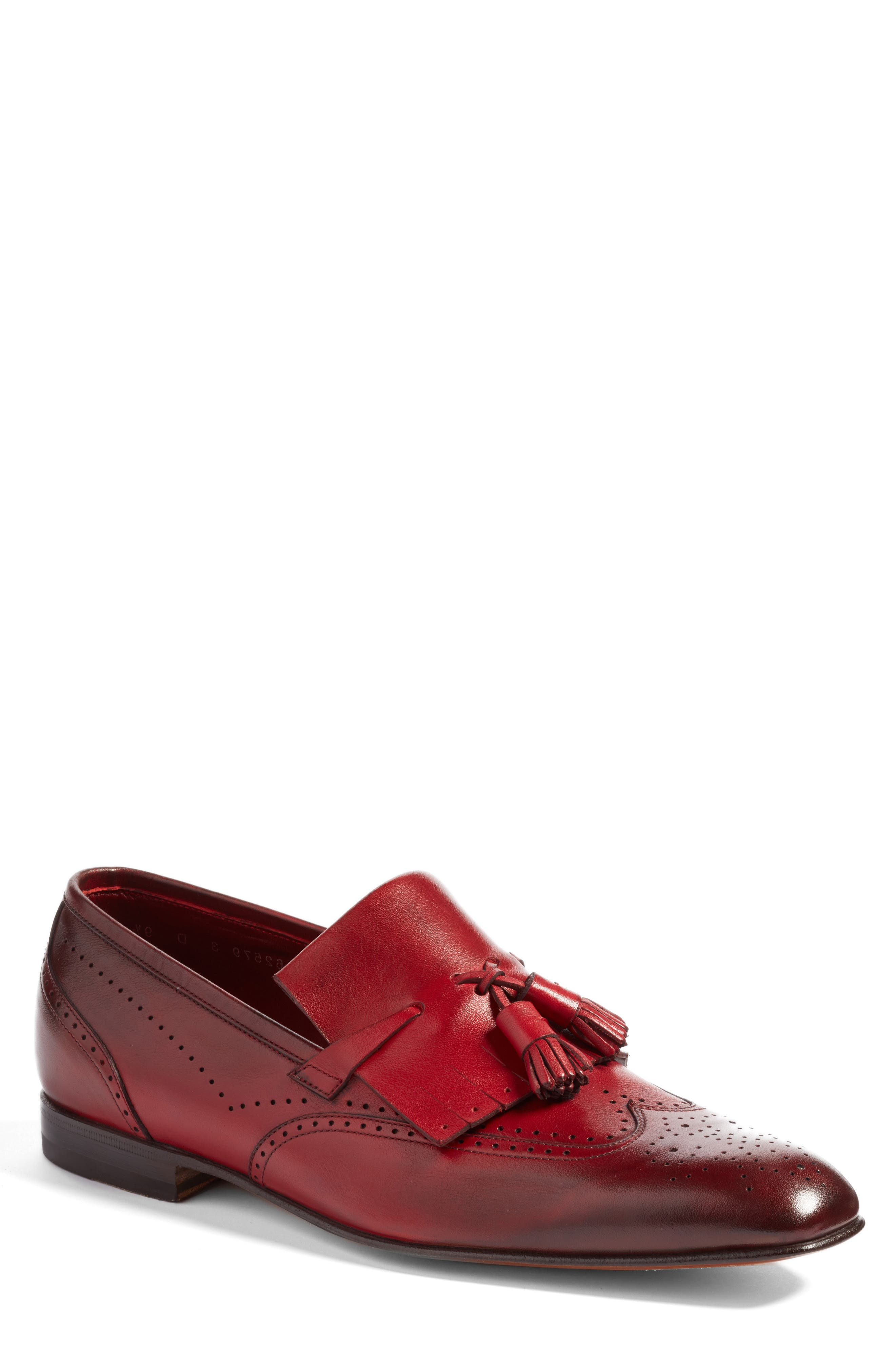 Floyd Tassel Wingtip Loafer,                             Main thumbnail 1, color,                             Burgundy Leather