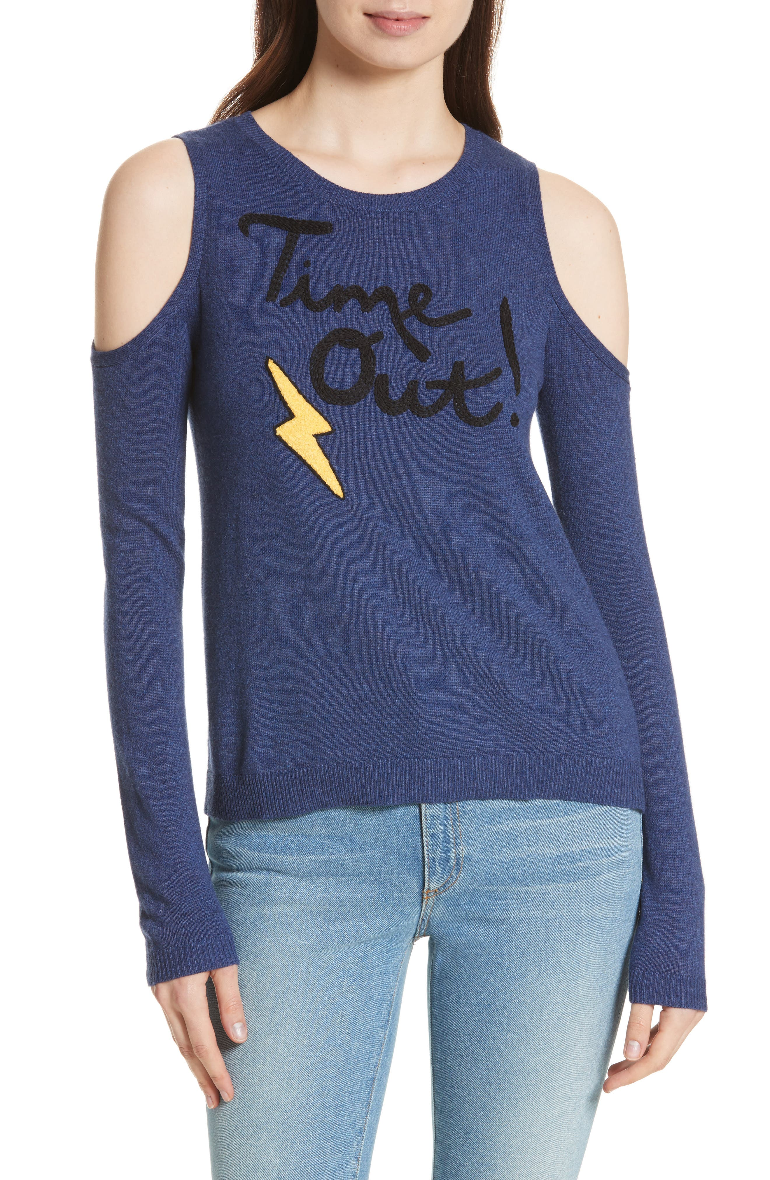 ALICE + OLIVIA Wade Time Out Cold Shoulder Sweater