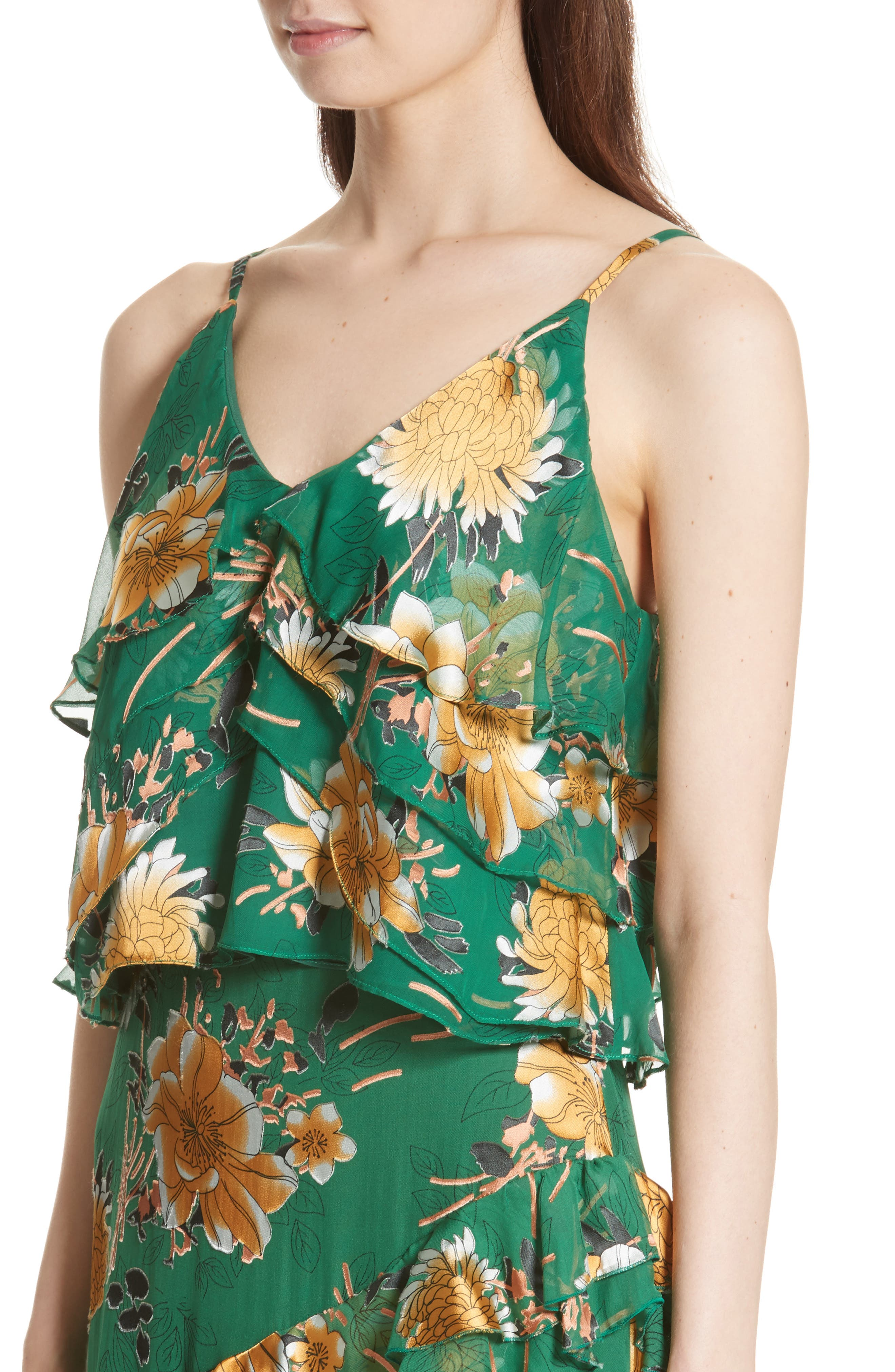 Vanessa Tiered Floral Camisole,                             Alternate thumbnail 4, color,                             Ivy Multi