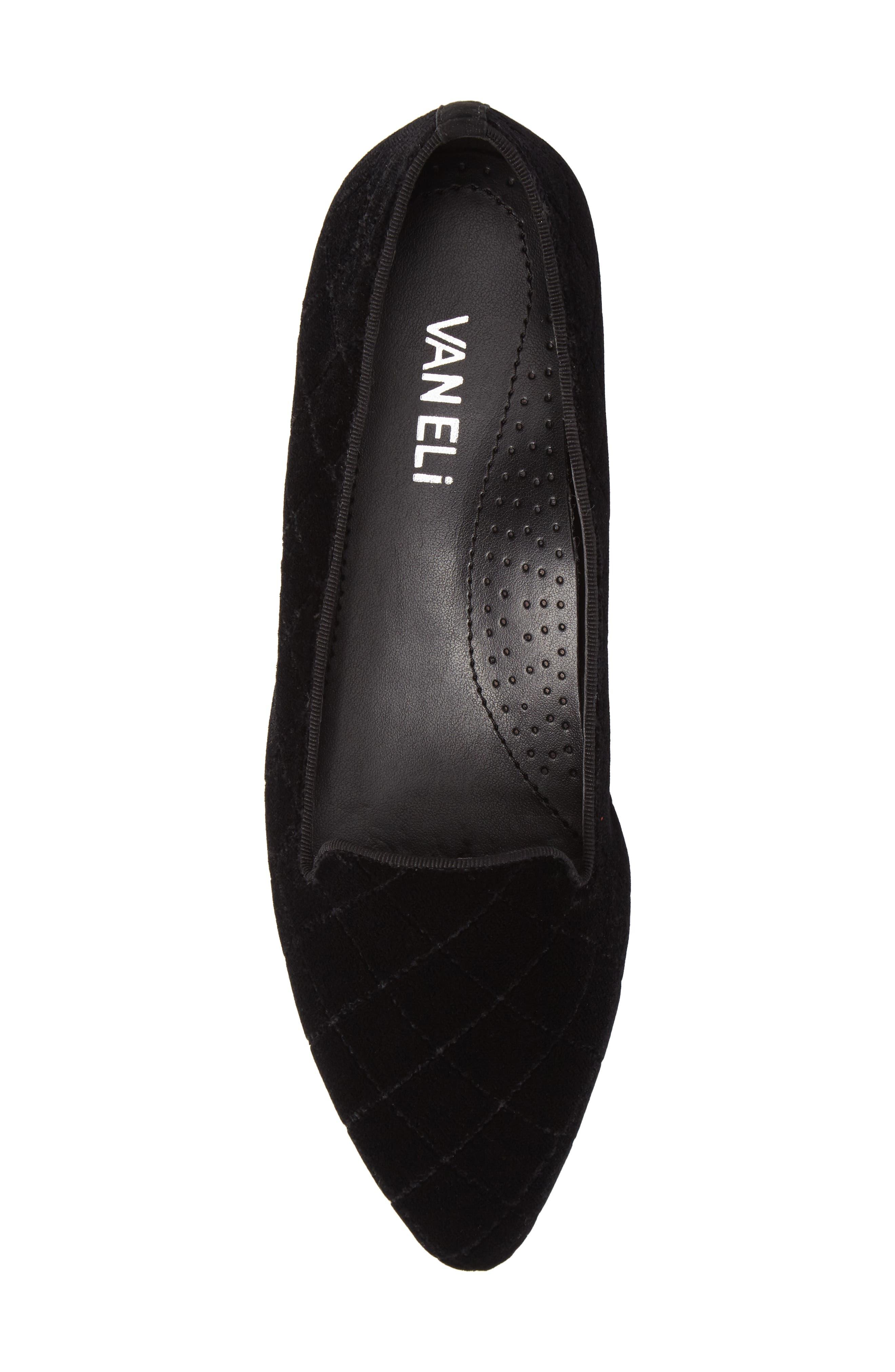Gannie Diamond Pattern Loafer,                             Alternate thumbnail 5, color,                             Black Velvet Fabric