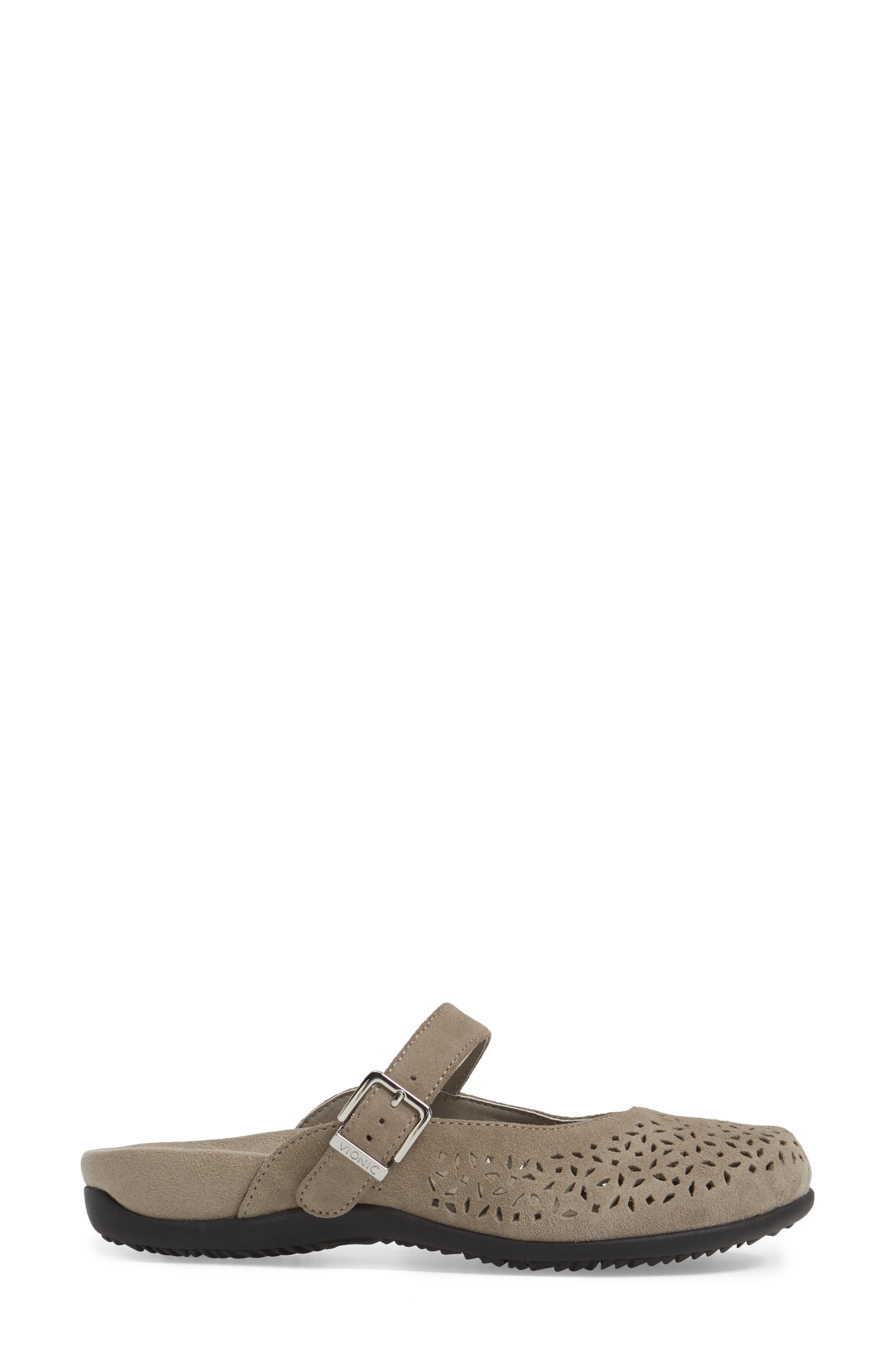 Rest Lidia Perforated Mary Jane Mule,                             Alternate thumbnail 3, color,                             Grey Suede