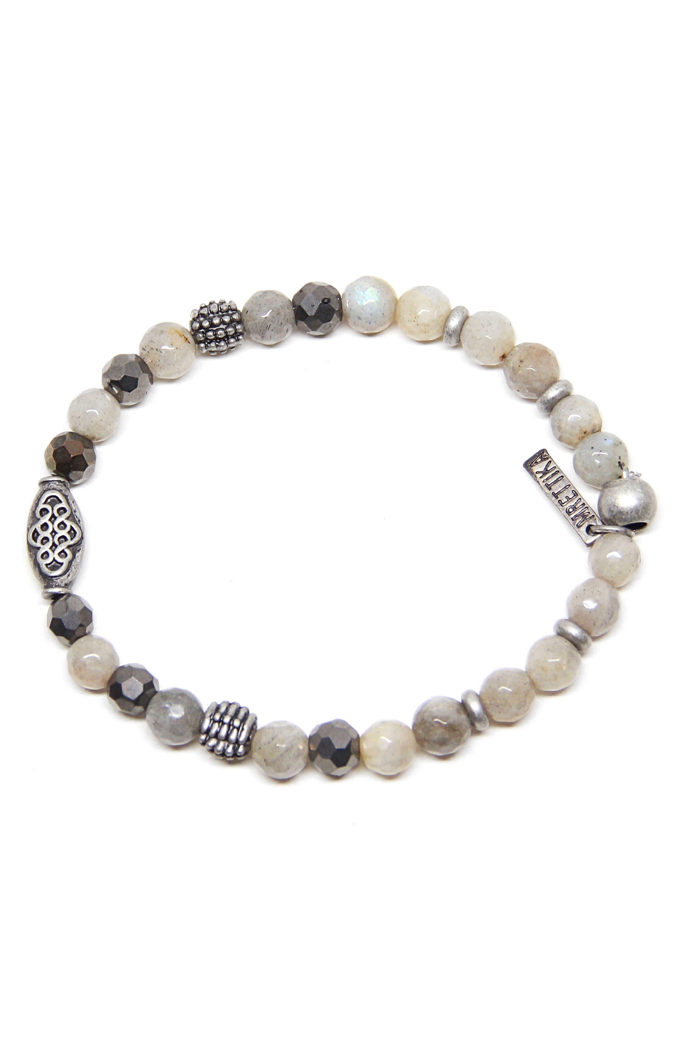 Labradorite Bead Bracelet,                         Main,                         color, Grey Dawn