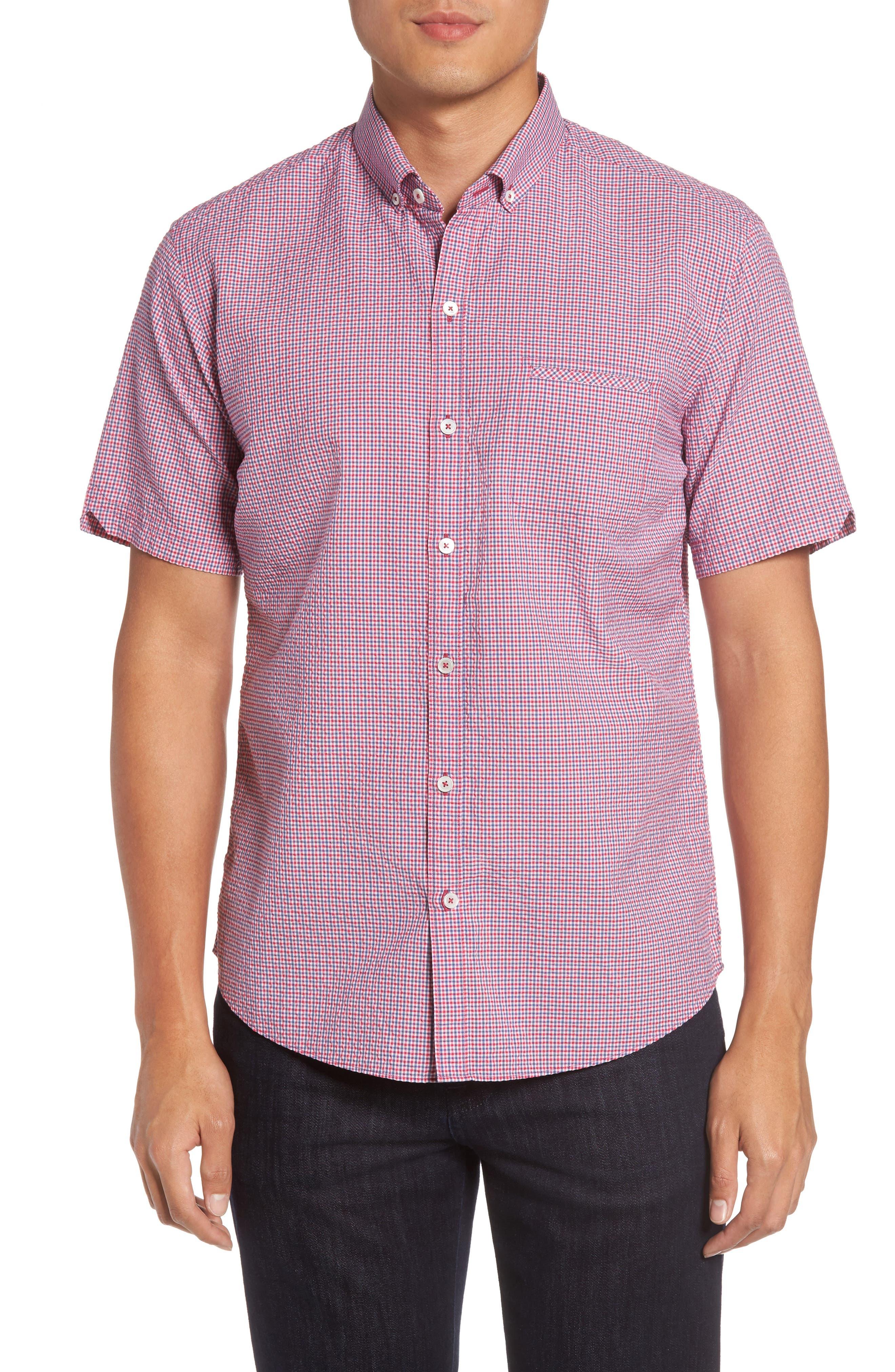 Billy Trim Fit Plaid Sport Shirt,                         Main,                         color, Berry