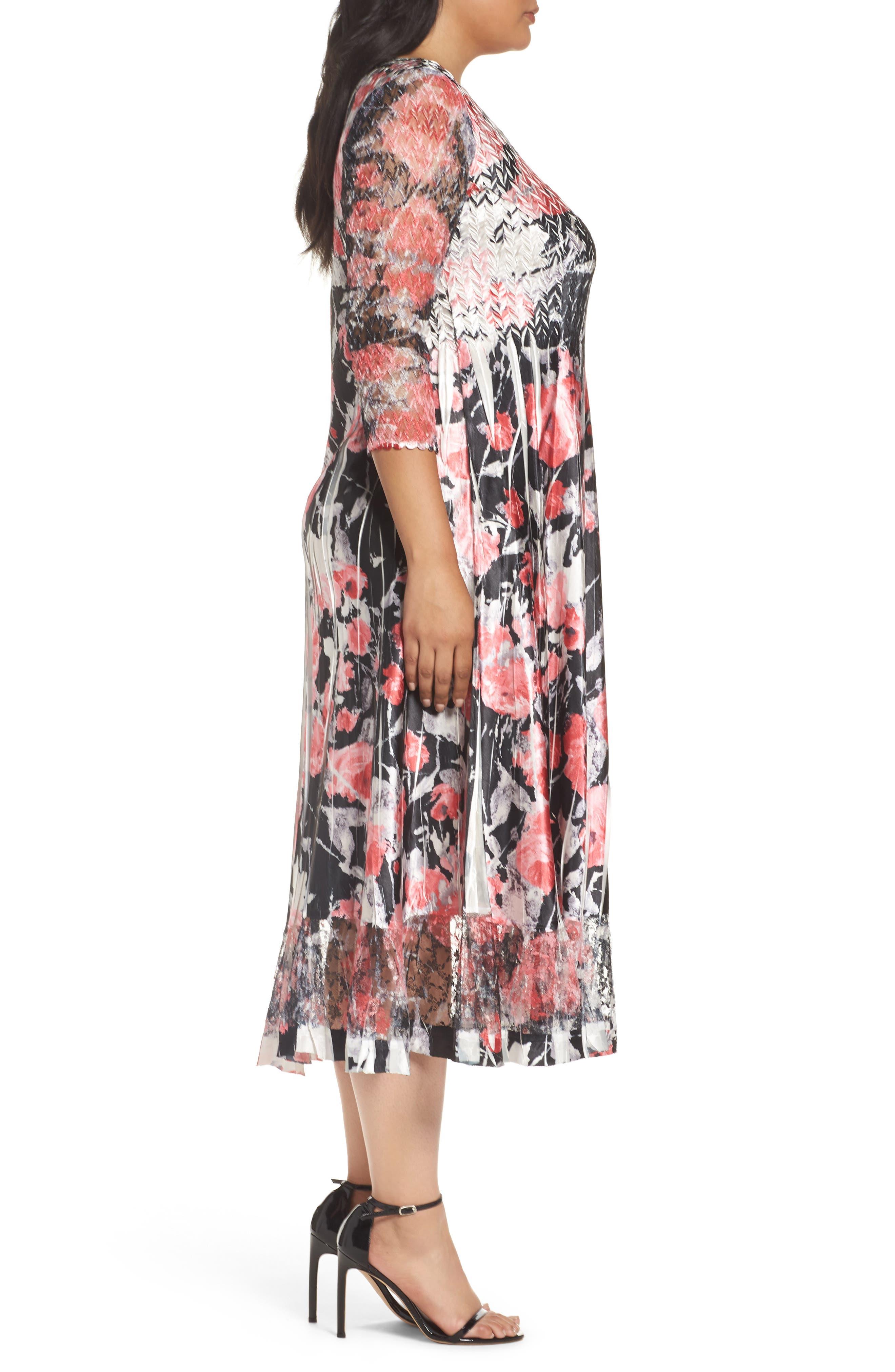 Alternate Image 3  - Komarov Print A-Line Midi Dress (Plus Size)