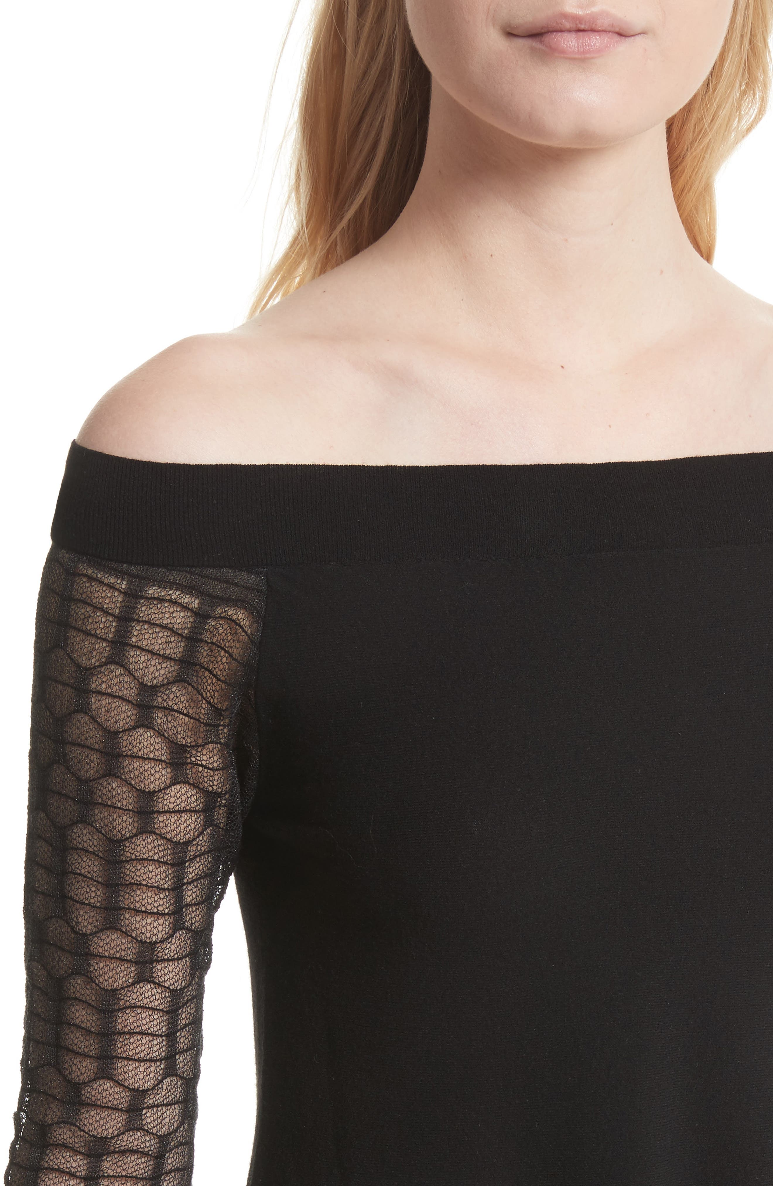 Amaya Off the Shoulder Sweater,                             Alternate thumbnail 4, color,                             Black
