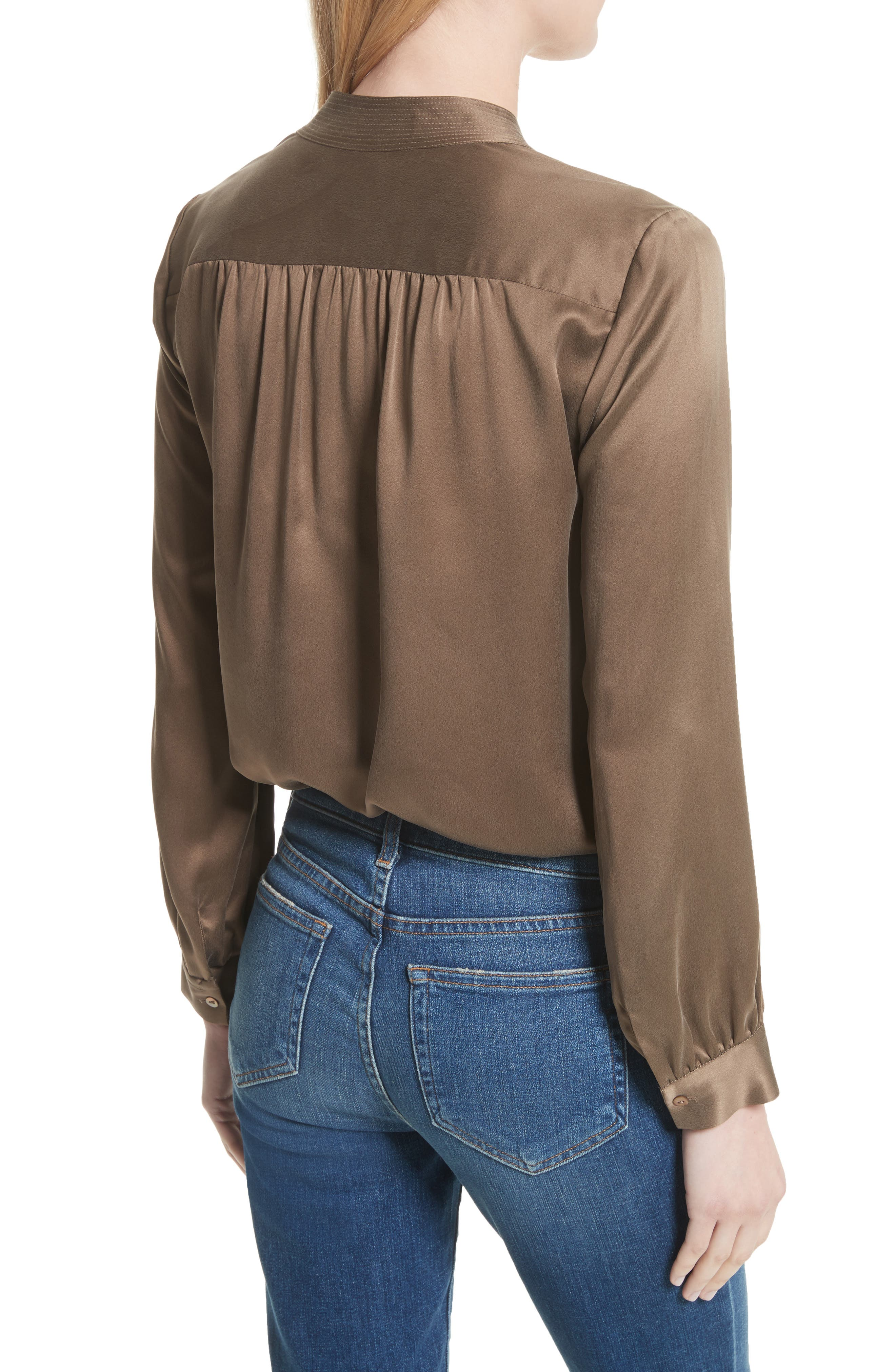 Bianca Silk Blouse,                             Alternate thumbnail 2, color,                             Washed Brown