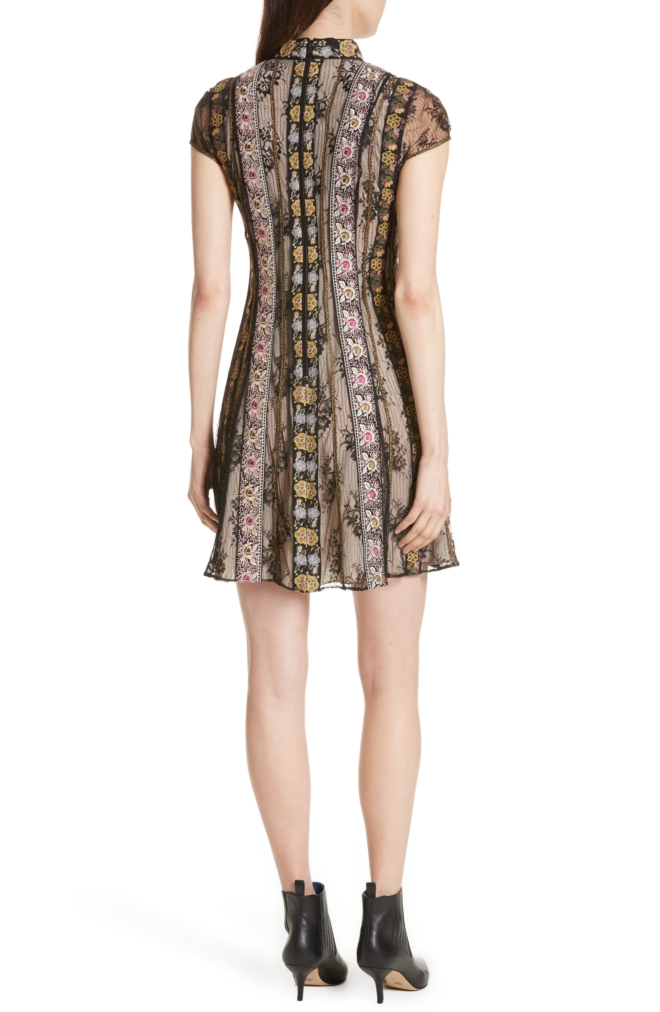 Gwyneth Embroidered Floral Dress,                             Alternate thumbnail 2, color,                             Black/ Multi