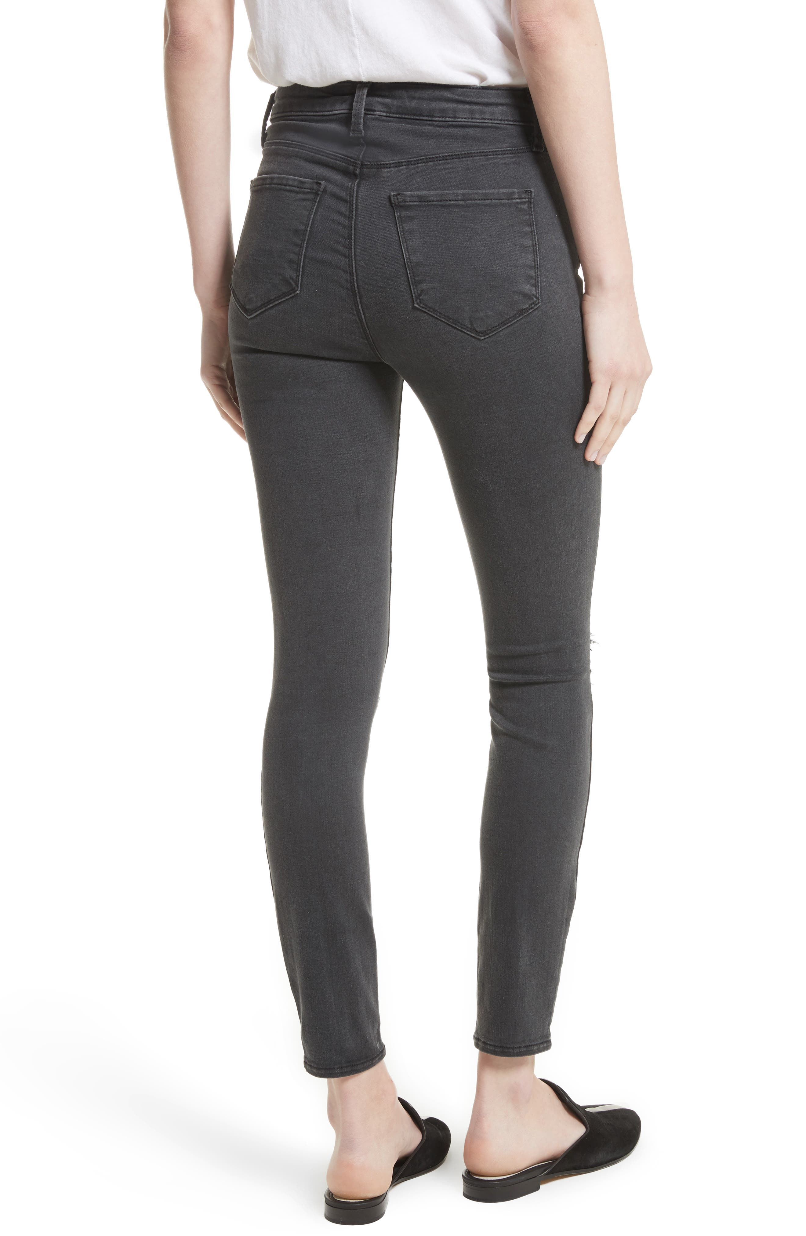 Alternate Image 3  - L'AGENCE Margot Ripped High Waist Skinny Jeans (Coal Destruct)