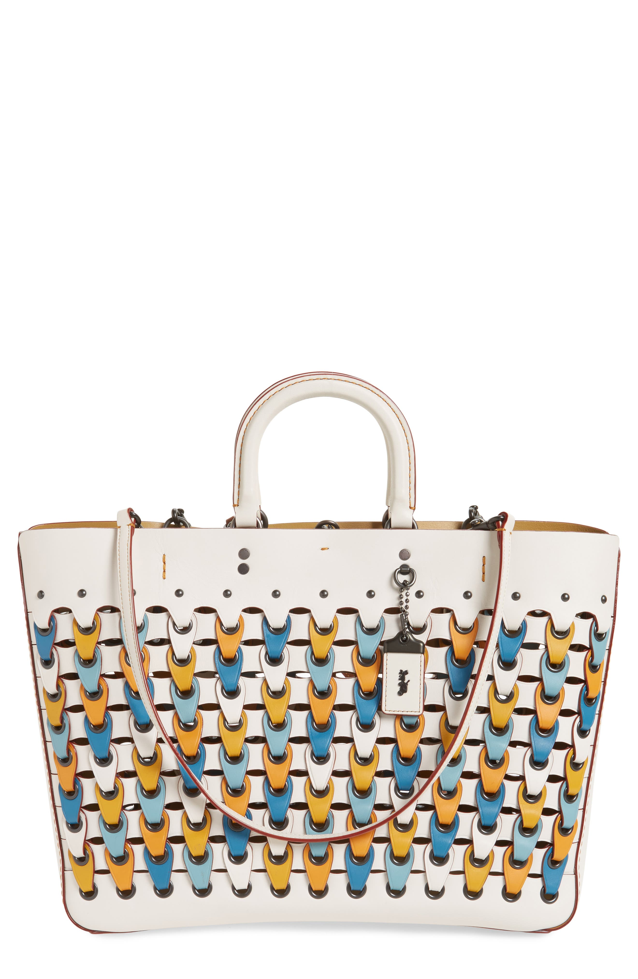 Colorblock Linked Rogue Leather Tote,                             Main thumbnail 1, color,                             Chalk Multi