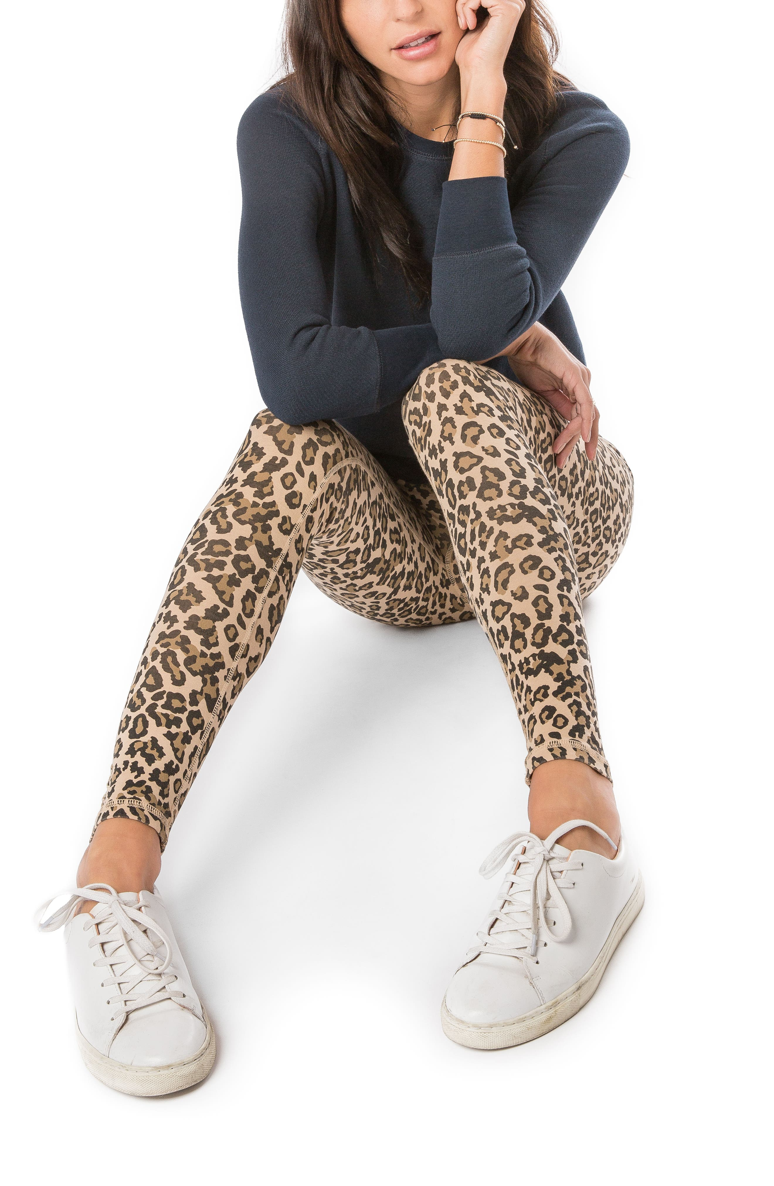 Leopard Print Leggings,                             Alternate thumbnail 5, color,                             Faded Camel
