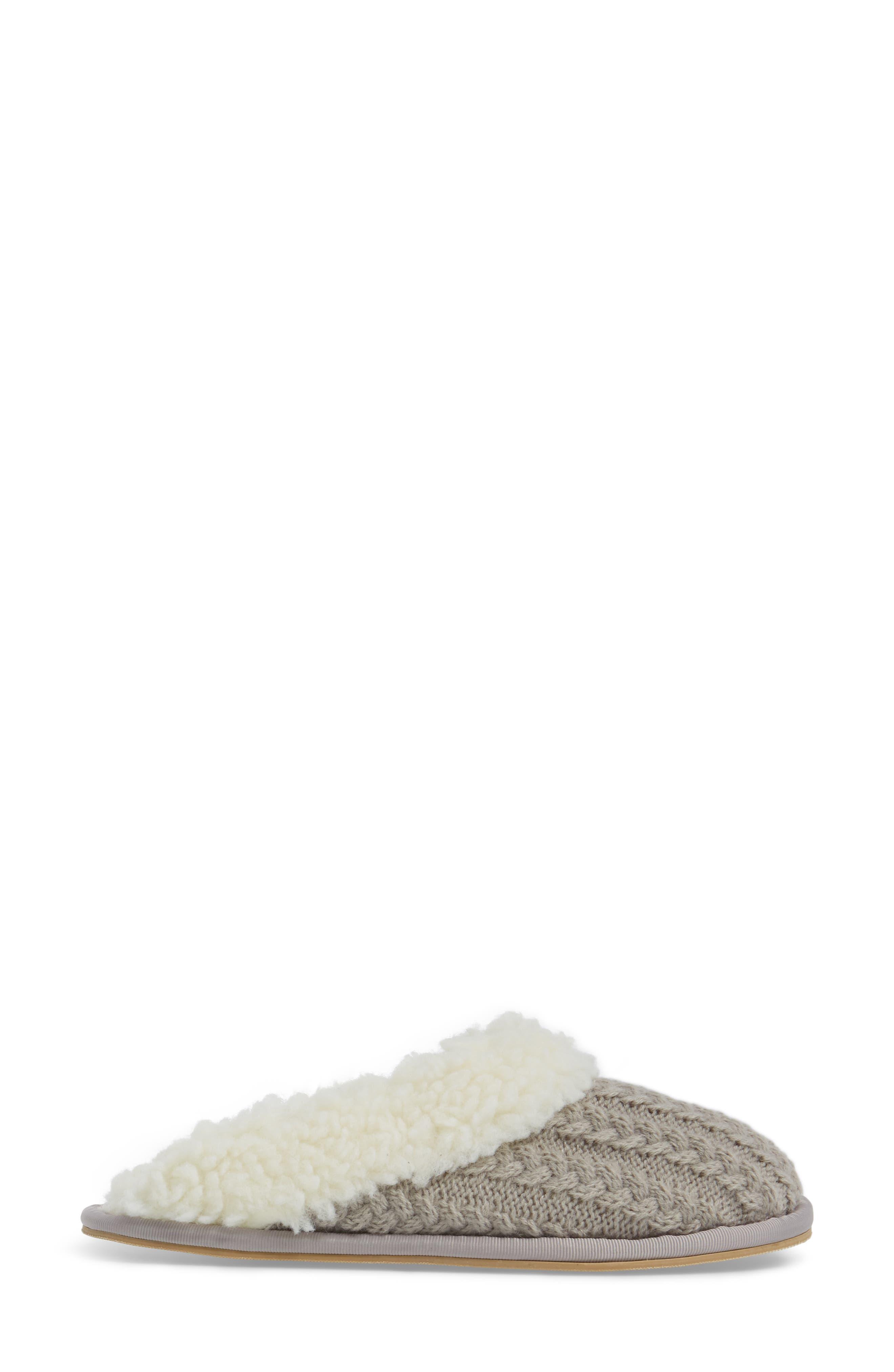 Celia Cable Knit Slipper,                             Alternate thumbnail 3, color,                             Grey Fabric
