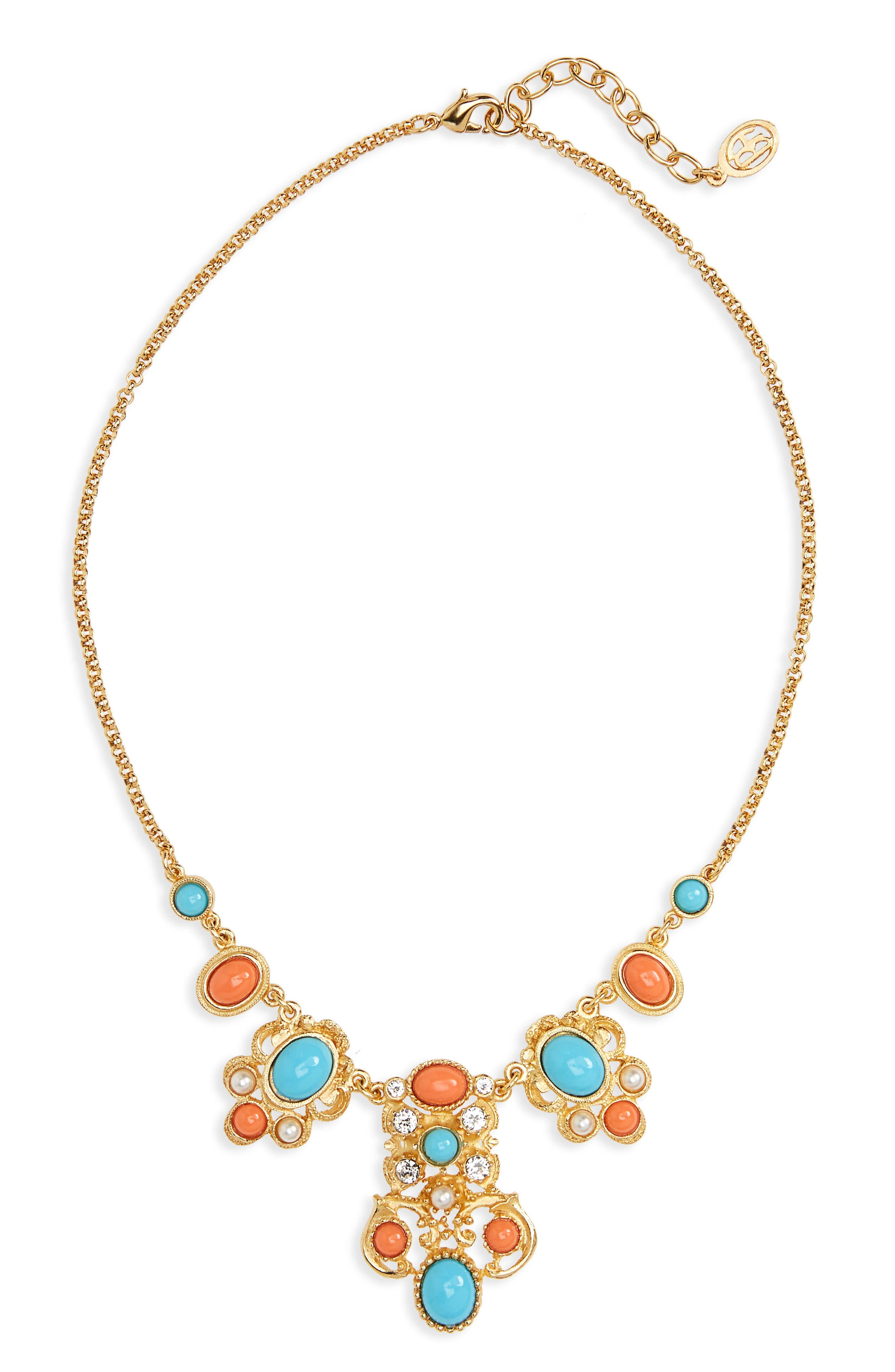 Adriatic Sea Jewel Collar Necklace,                         Main,                         color, Turquoise / Coral / Pearl