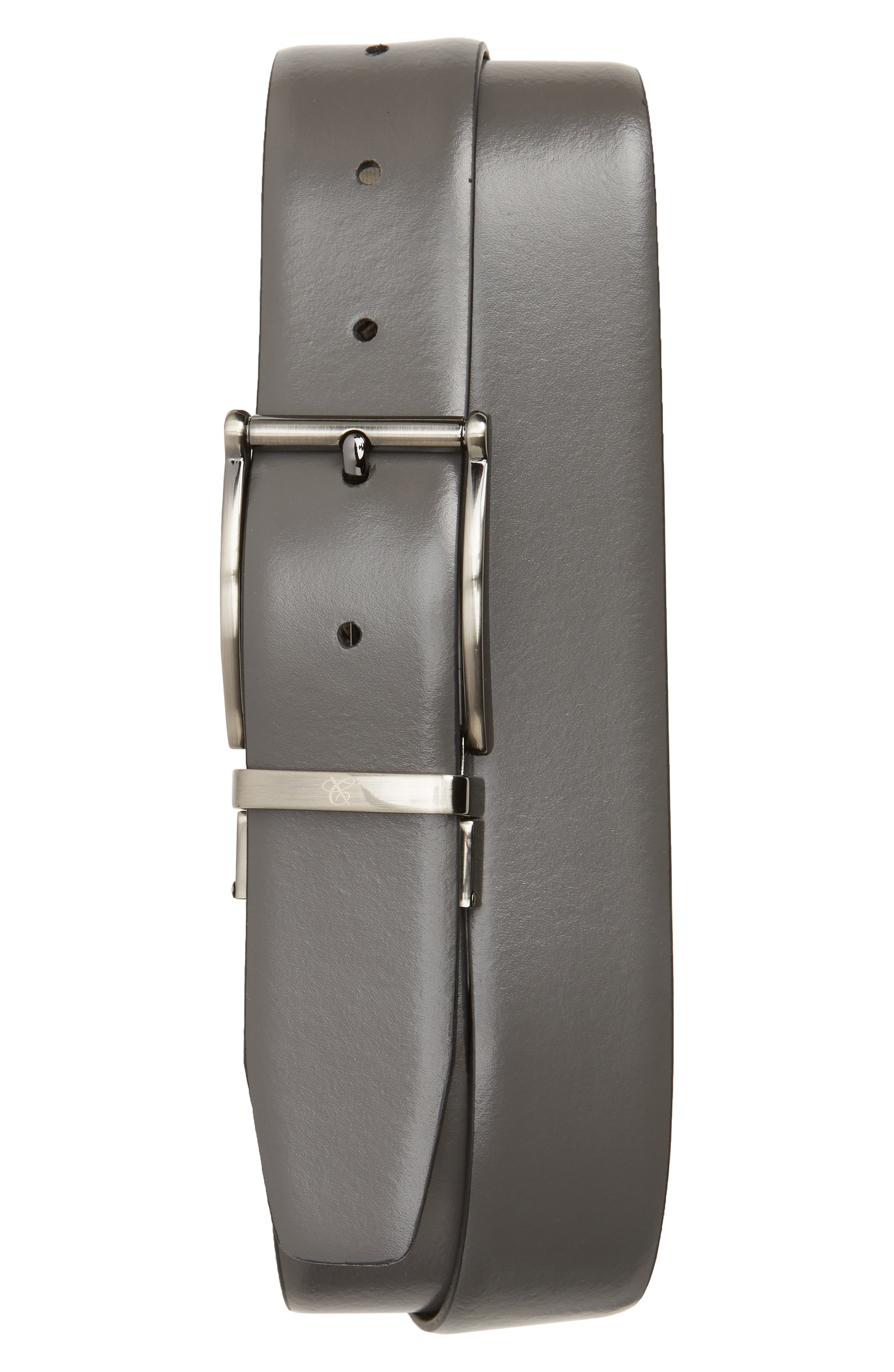 Reversible Leather Belt,                             Alternate thumbnail 2, color,                             Grey