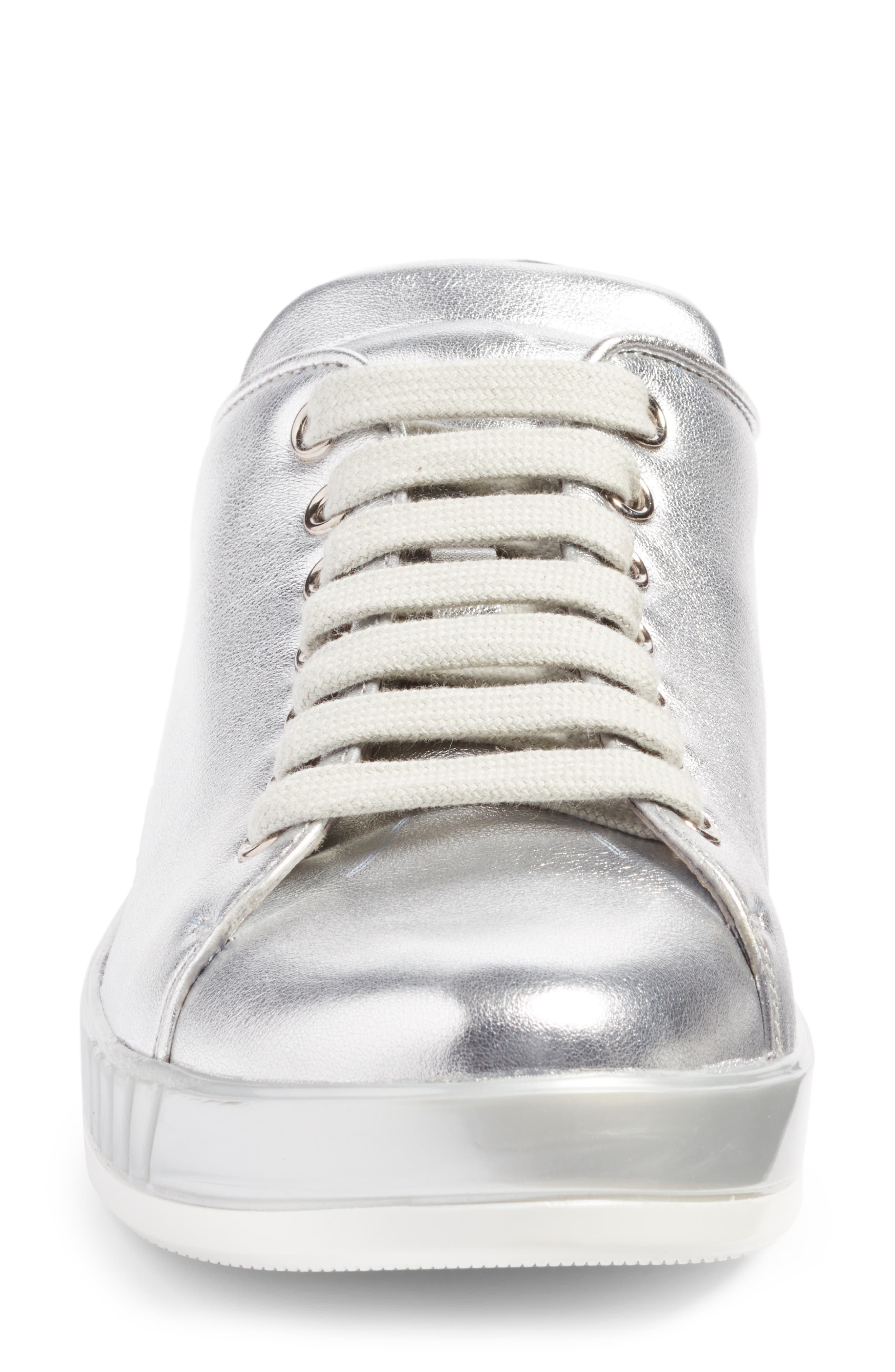Low Top Sneaker,                             Alternate thumbnail 4, color,                             Metallic Silver