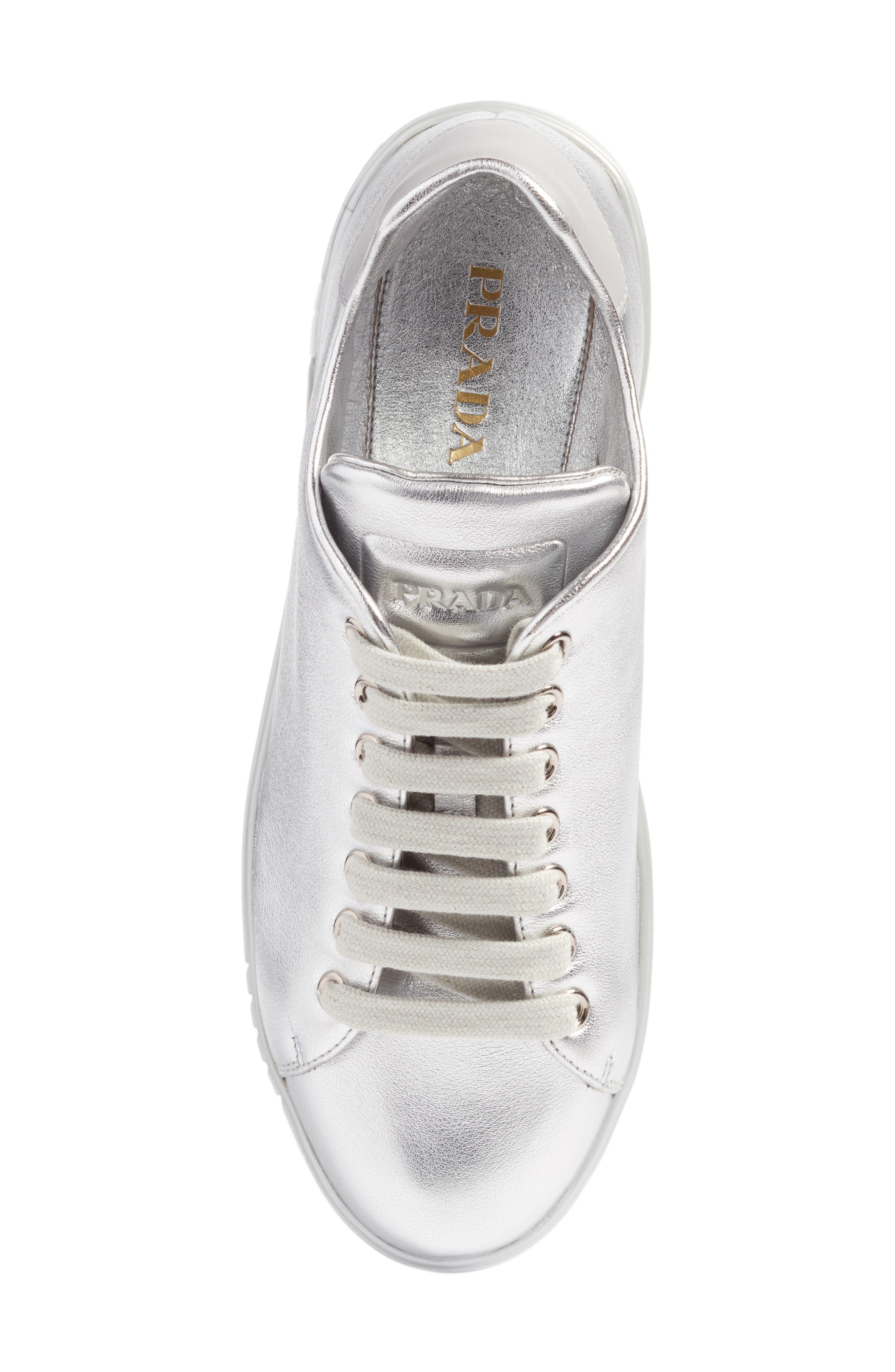 Low Top Sneaker,                             Alternate thumbnail 5, color,                             Metallic Silver