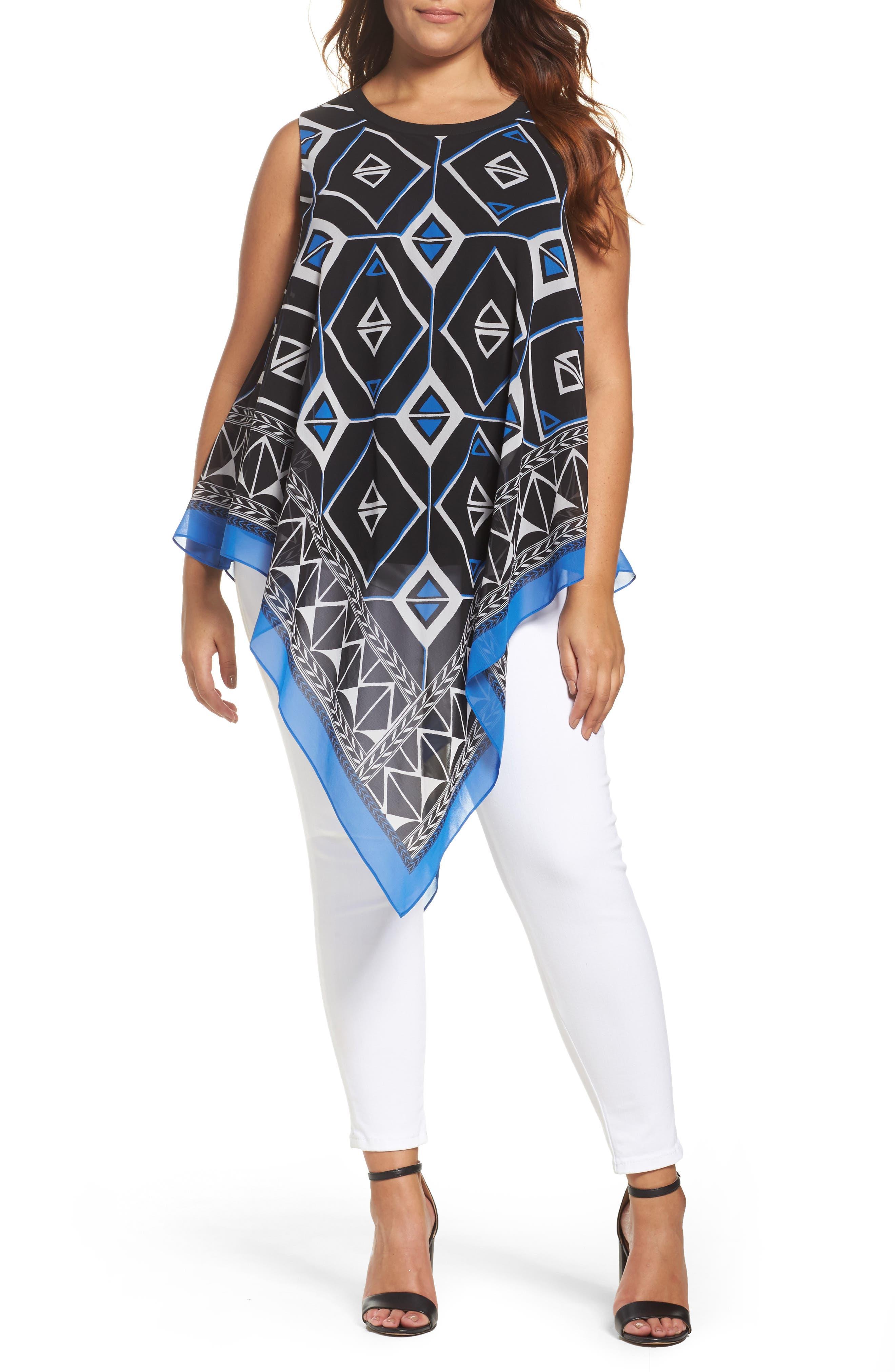 Vince Camuto Graphic Chiffon Handkerchief Blouse (Plus Size)