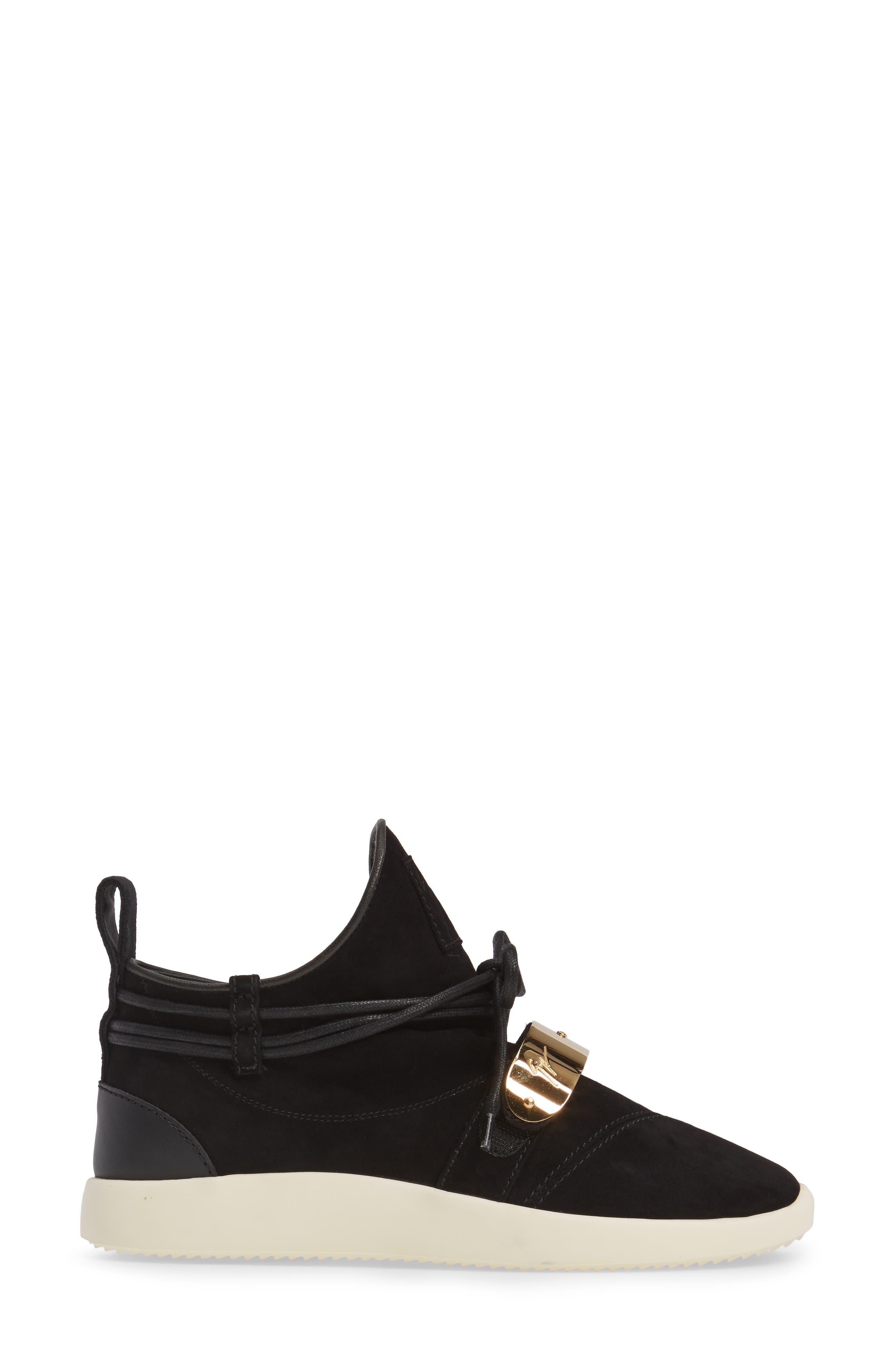 Gold Band Sneaker,                             Alternate thumbnail 3, color,                             Black