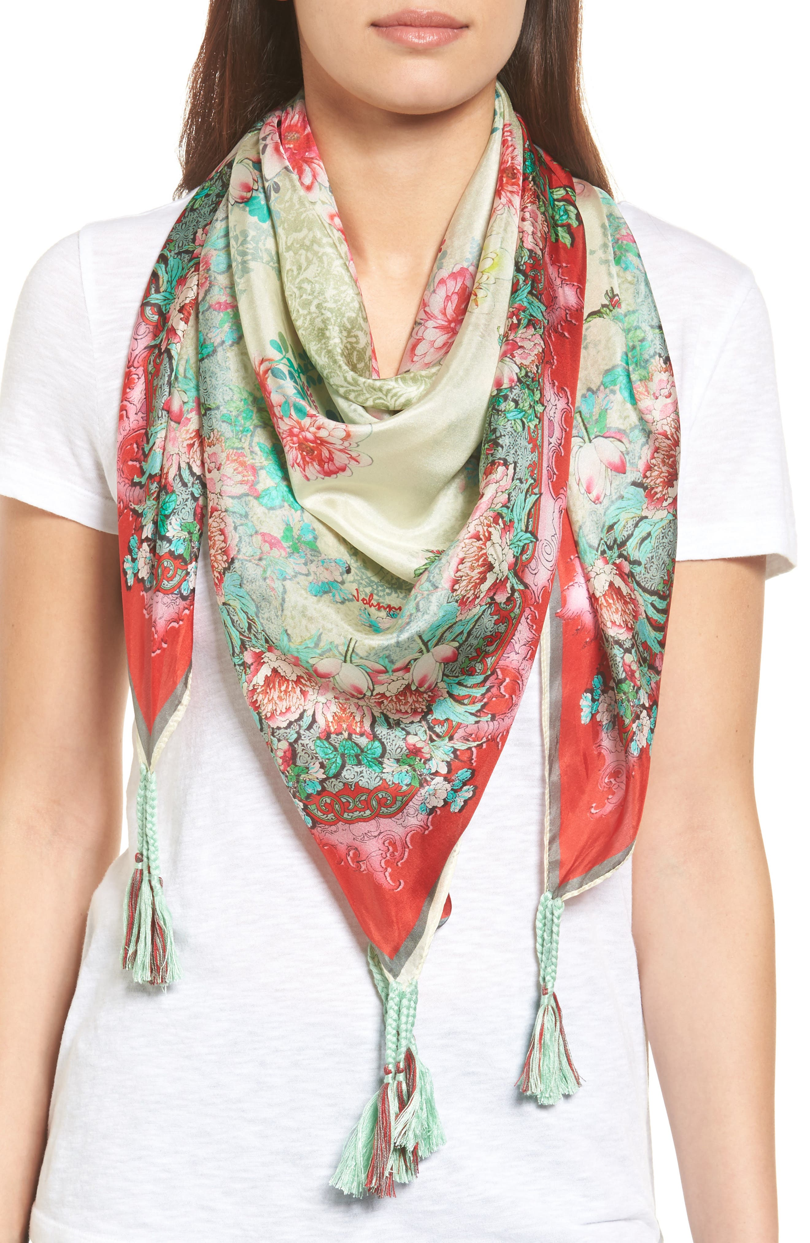 Main Image - Johnny Was Whisper Silk Square Scarf