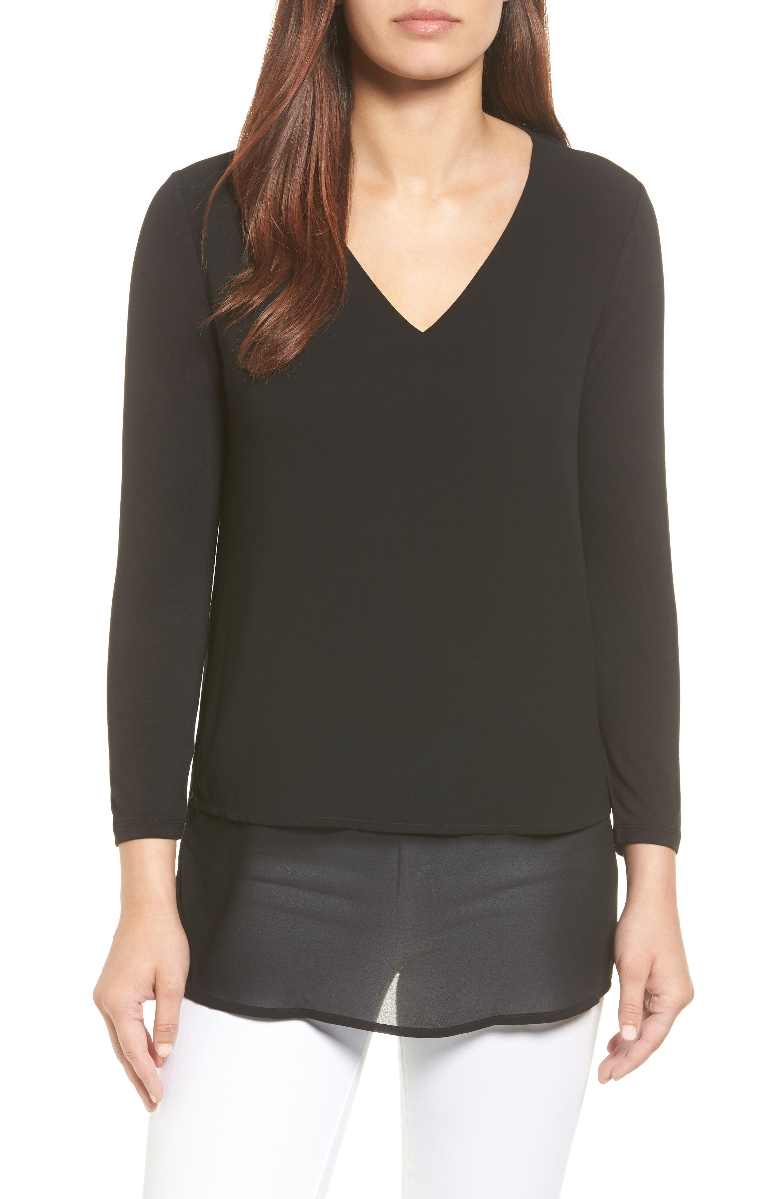 Alternate Image 1 Selected - MICHAEL Michael Kors Mixed Media V-Neck Top