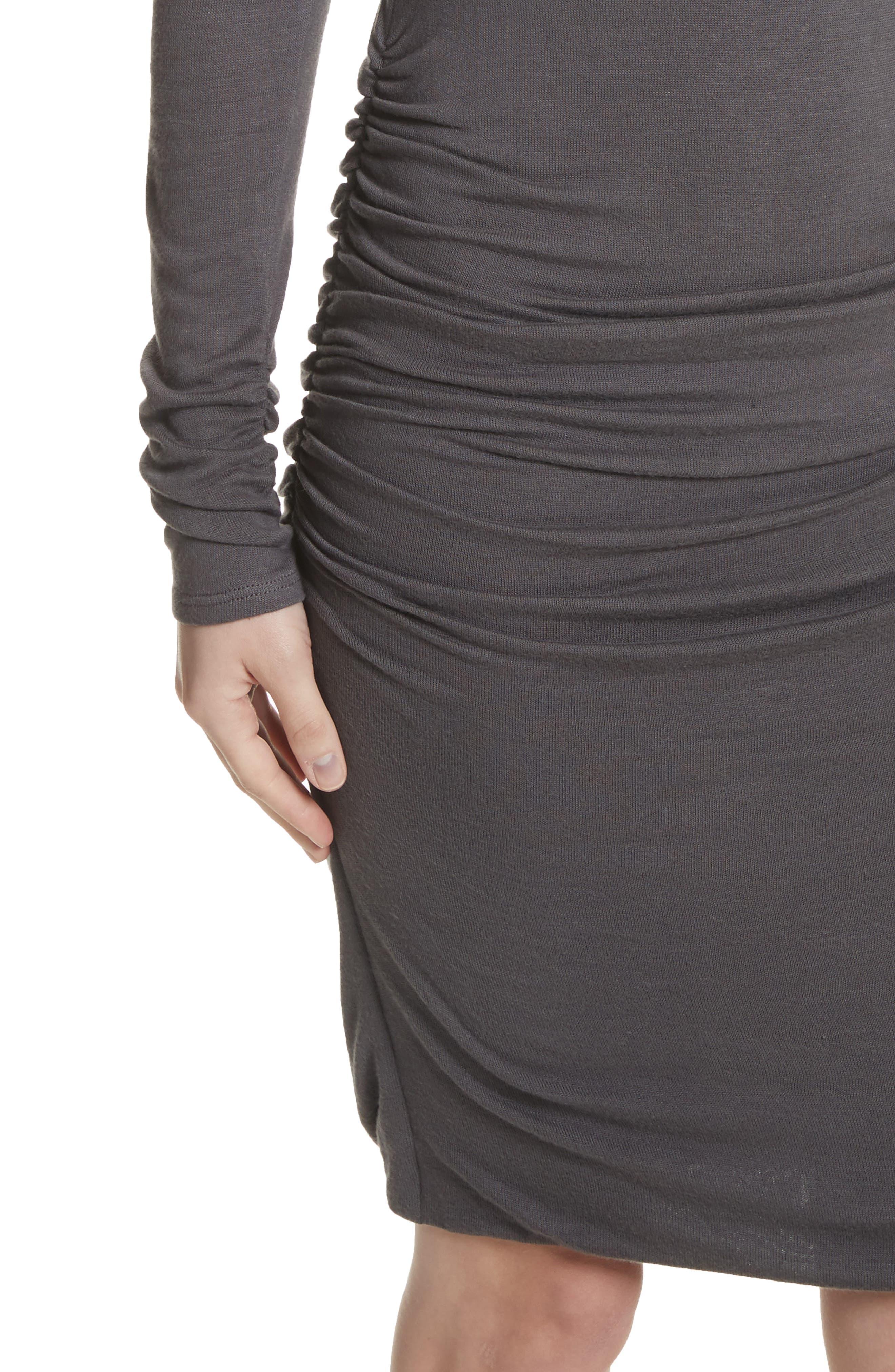 Body-Con Turtleneck Dress,                             Alternate thumbnail 4, color,                             Gunmetal