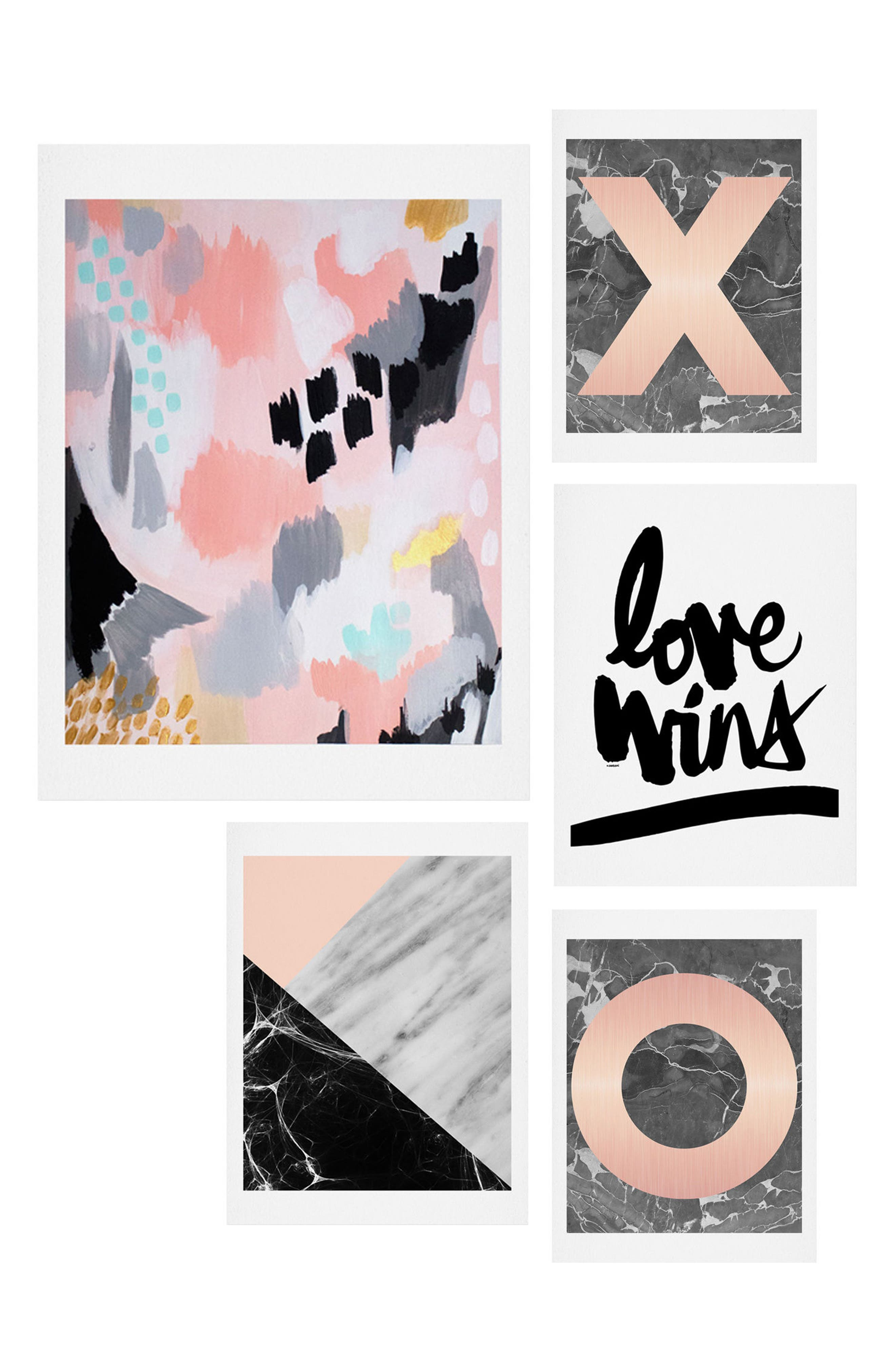 Main Image - Deny Designs Marble Love Five-Piece Gallery Wall Art Print Set