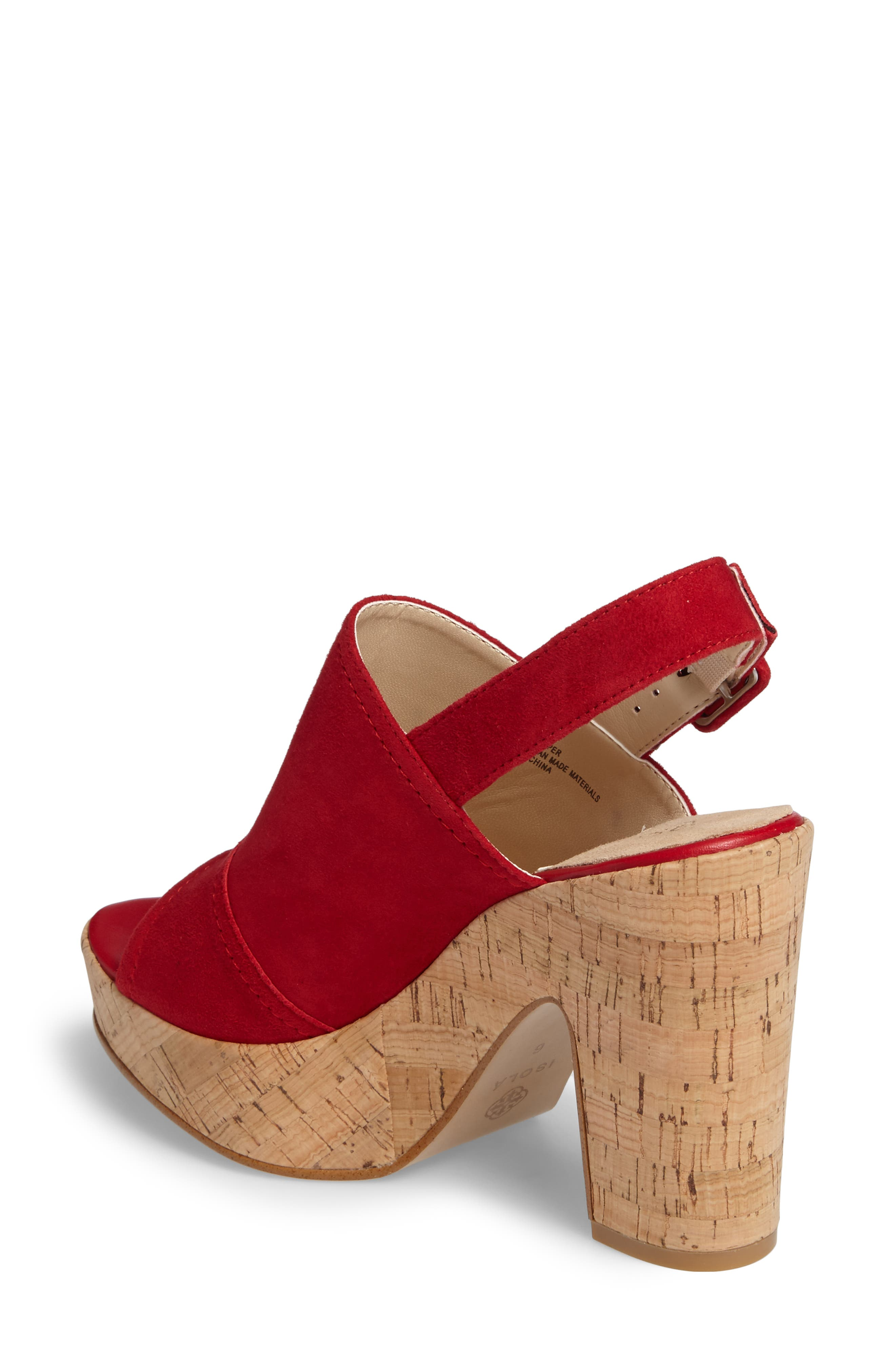 Gabriela Slingback Platform Sandal,                             Alternate thumbnail 2, color,                             Fire Red Suede