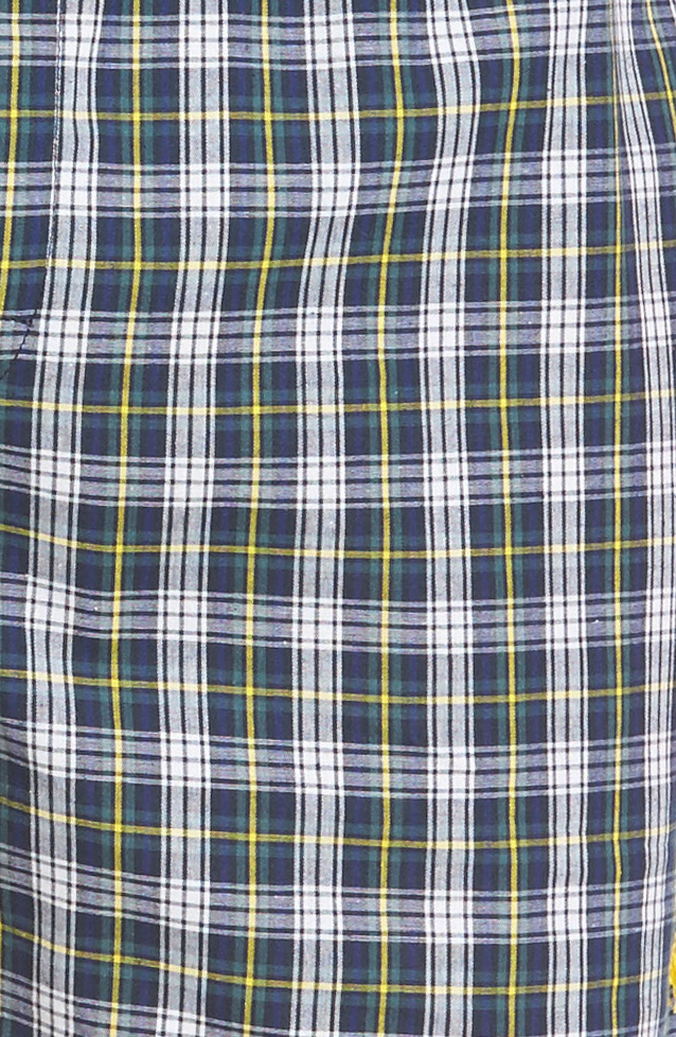 Assorted 3-Pack Woven Cotton Boxers,                             Alternate thumbnail 5, color,                             Blue/ Green Plaid/ Navy Plaid