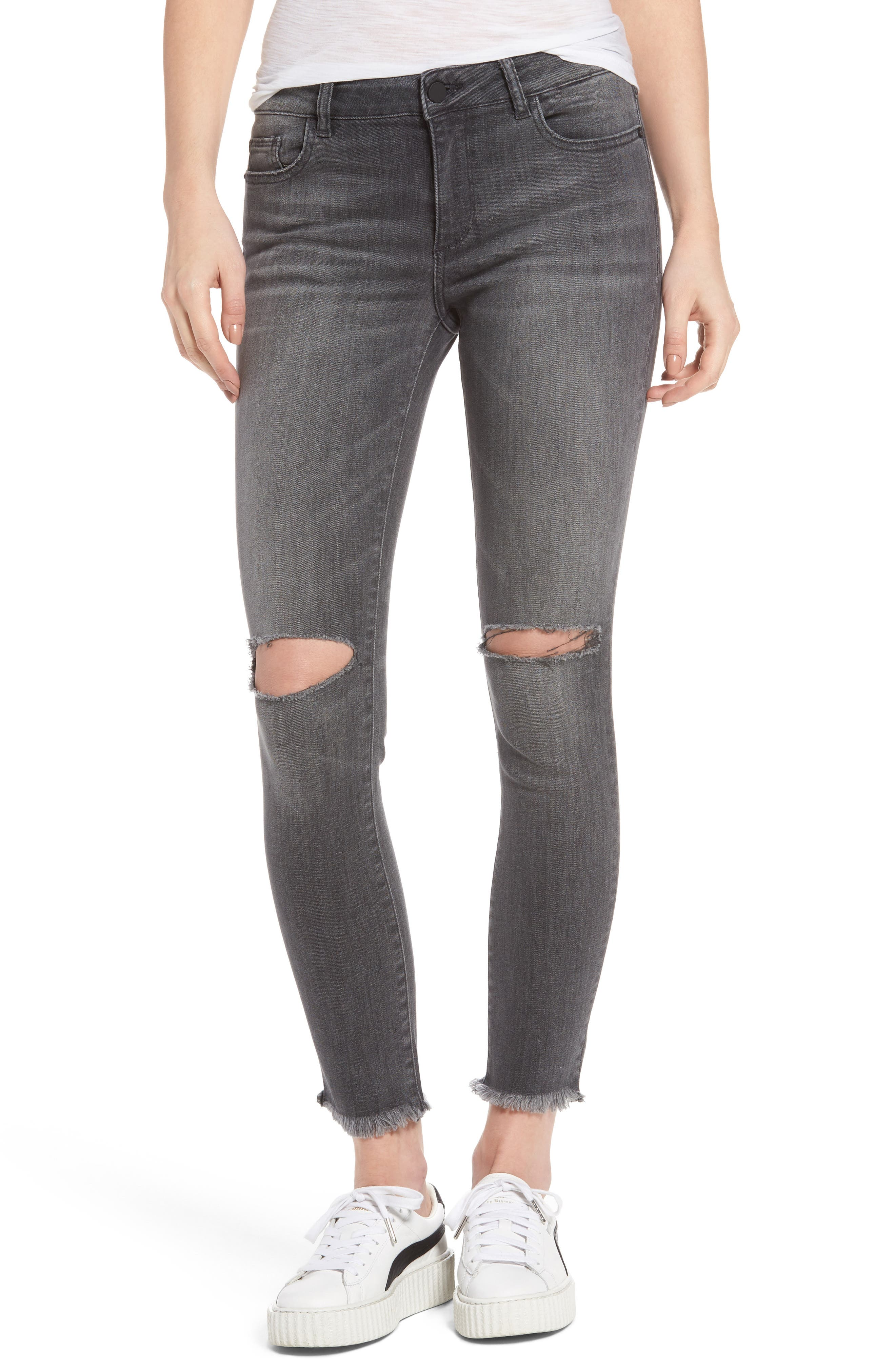 Margaux Ripped Ankle Skinny Jeans,                             Main thumbnail 1, color,                             Quaker
