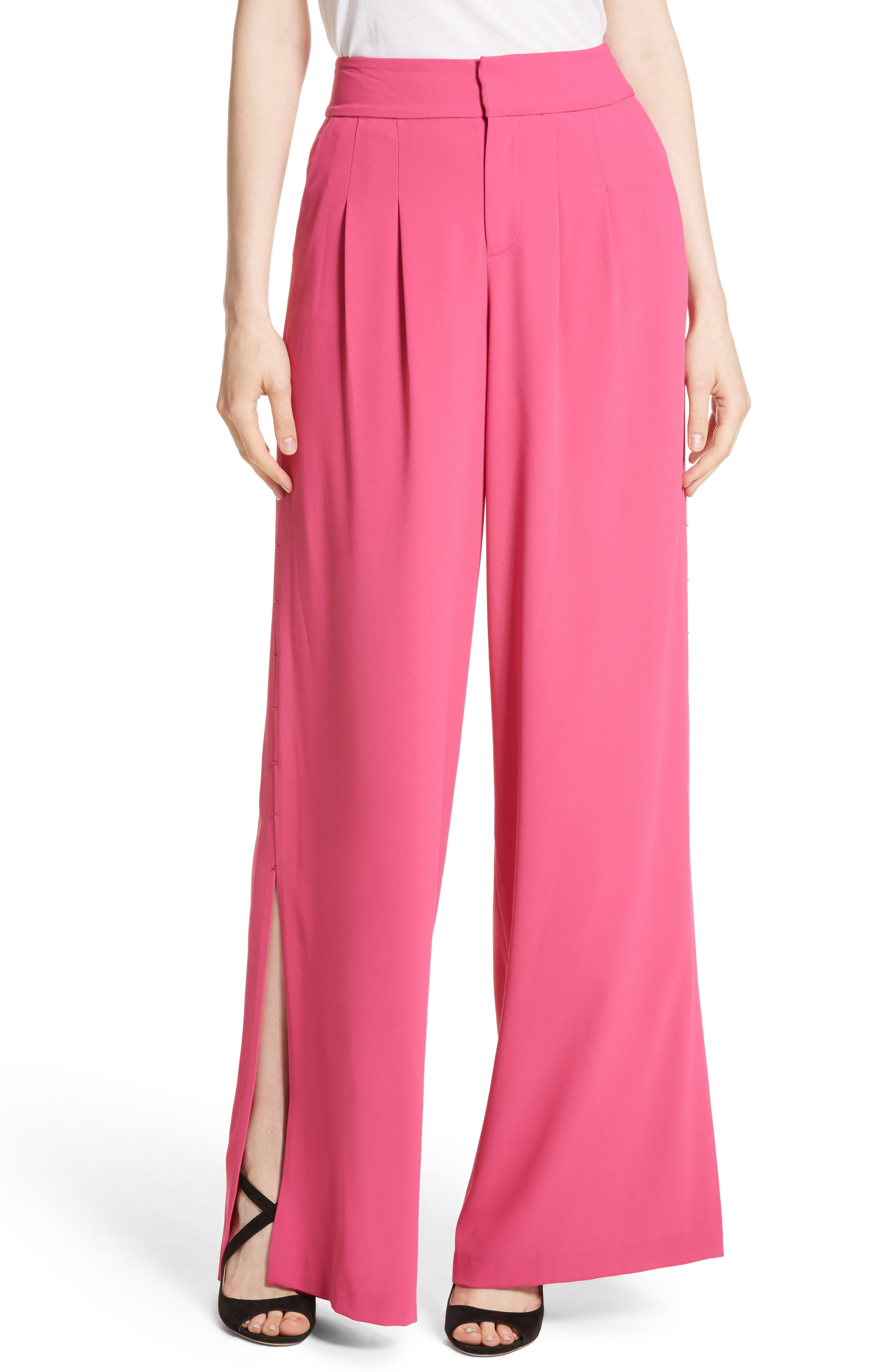 Shavon High Waist Side Slit Flare Pants,                             Main thumbnail 1, color,                             Fuchsia
