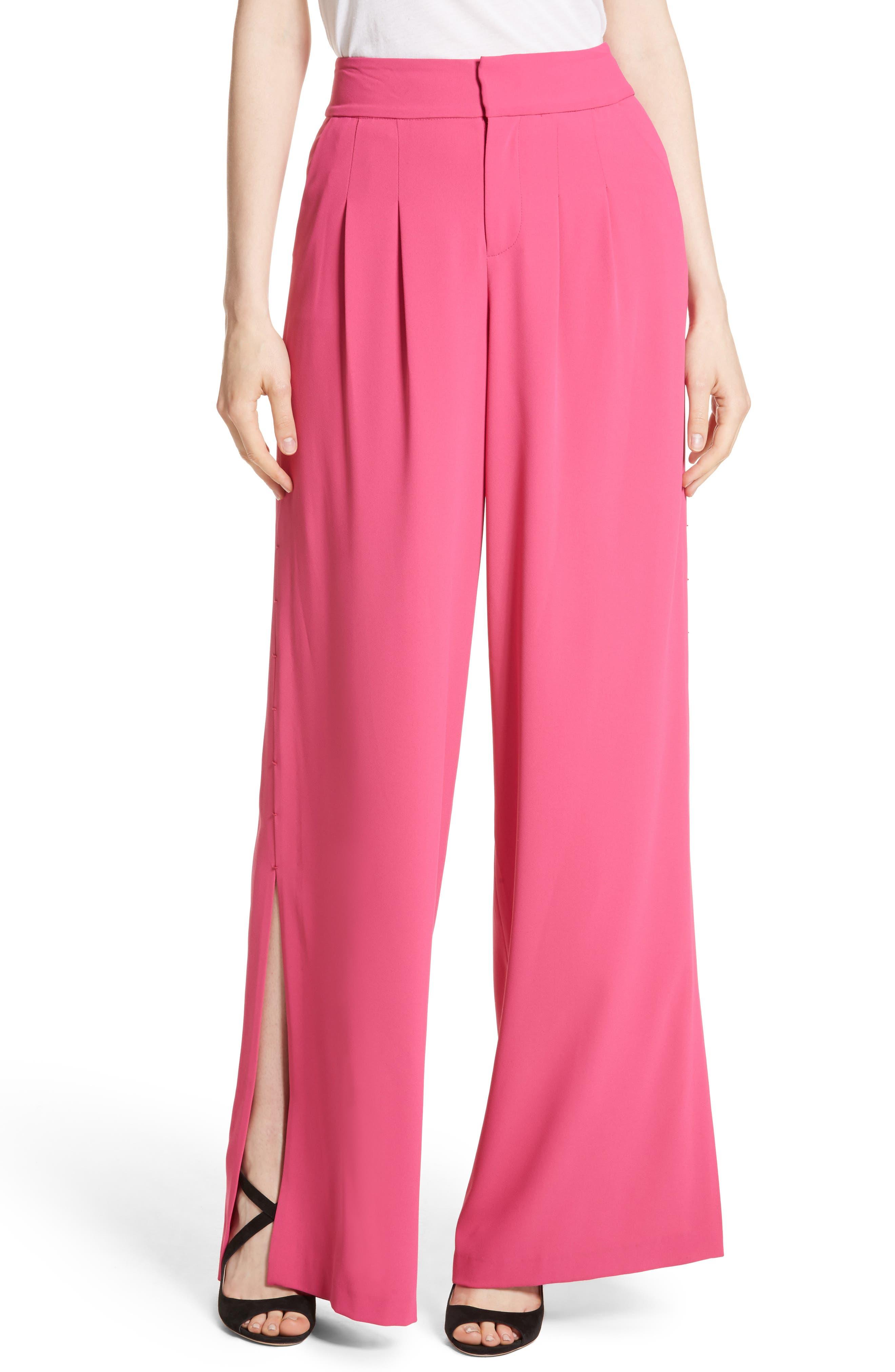 Main Image - Alice + Olivia Shavon High Waist Side Slit Flare Pants