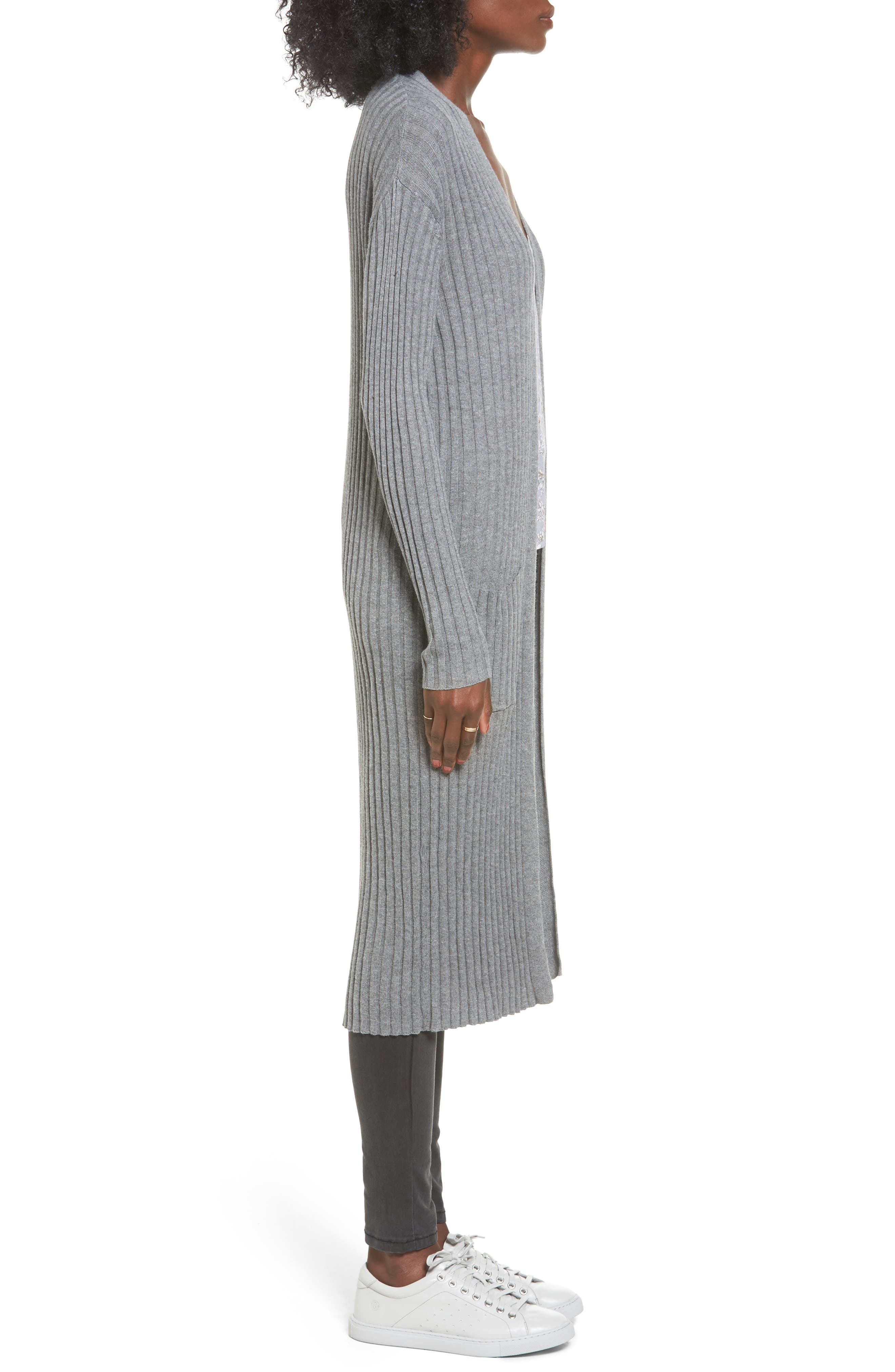 Rib Knit Midi Cardigan,                             Alternate thumbnail 3, color,                             Grey Cloudy Heather