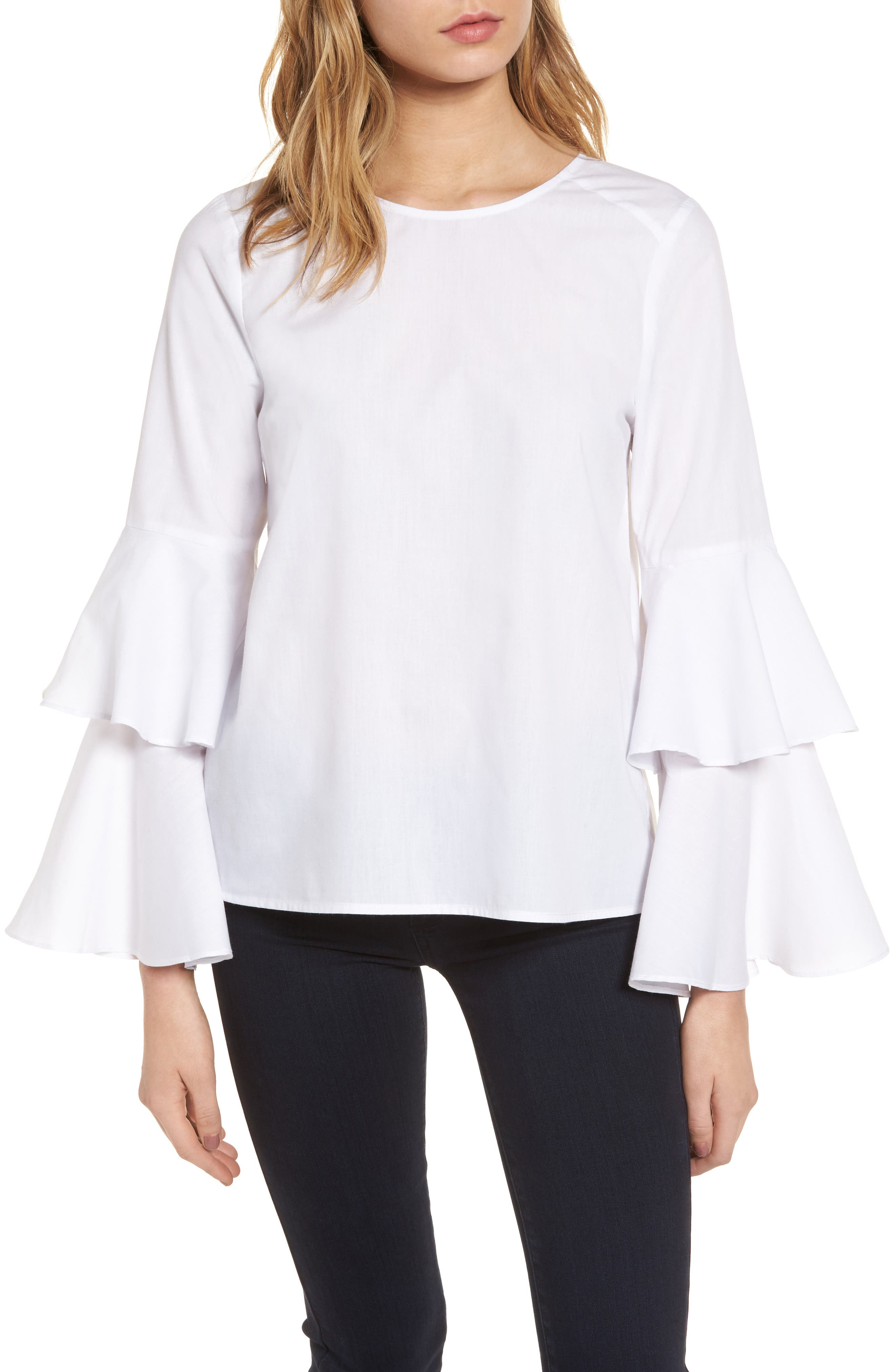 Bell Sleeve Poplin Top,                         Main,                         color, White