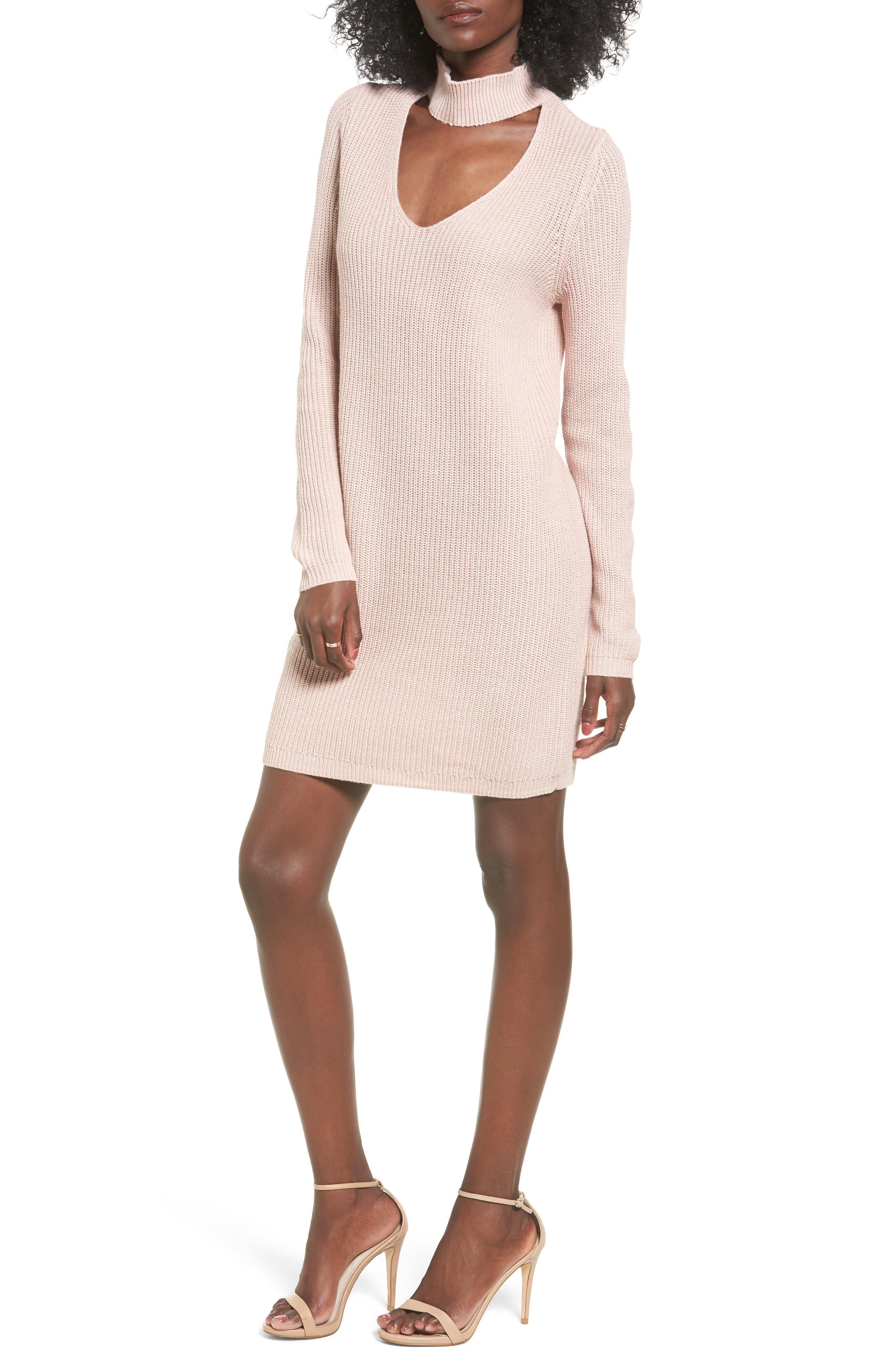 BP Cutout Choker Sweater Dress