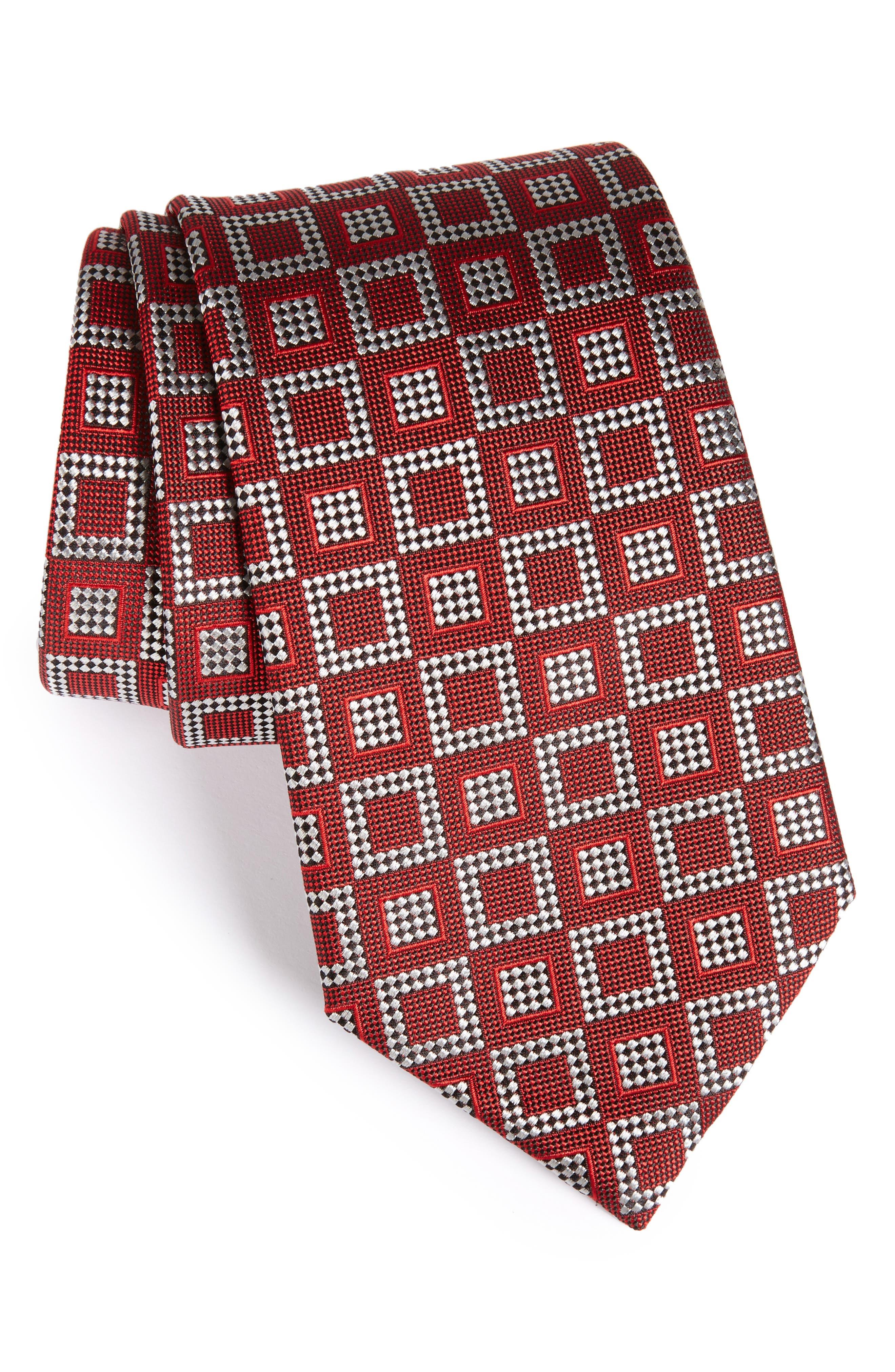 Geometric Silk Tie,                         Main,                         color, Dark Red