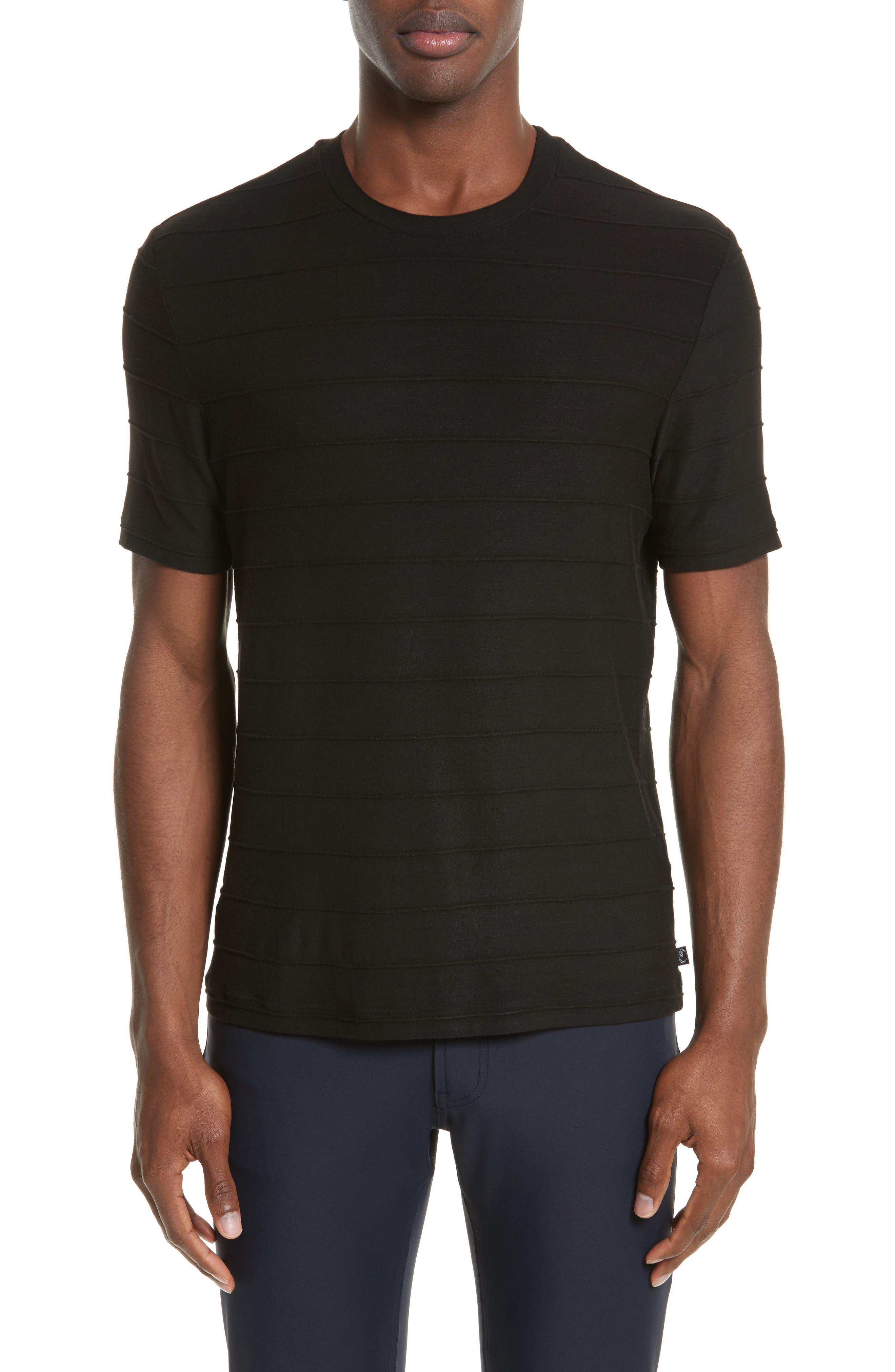 Emporio Armani Textured Stripe Crewneck T-Shirt