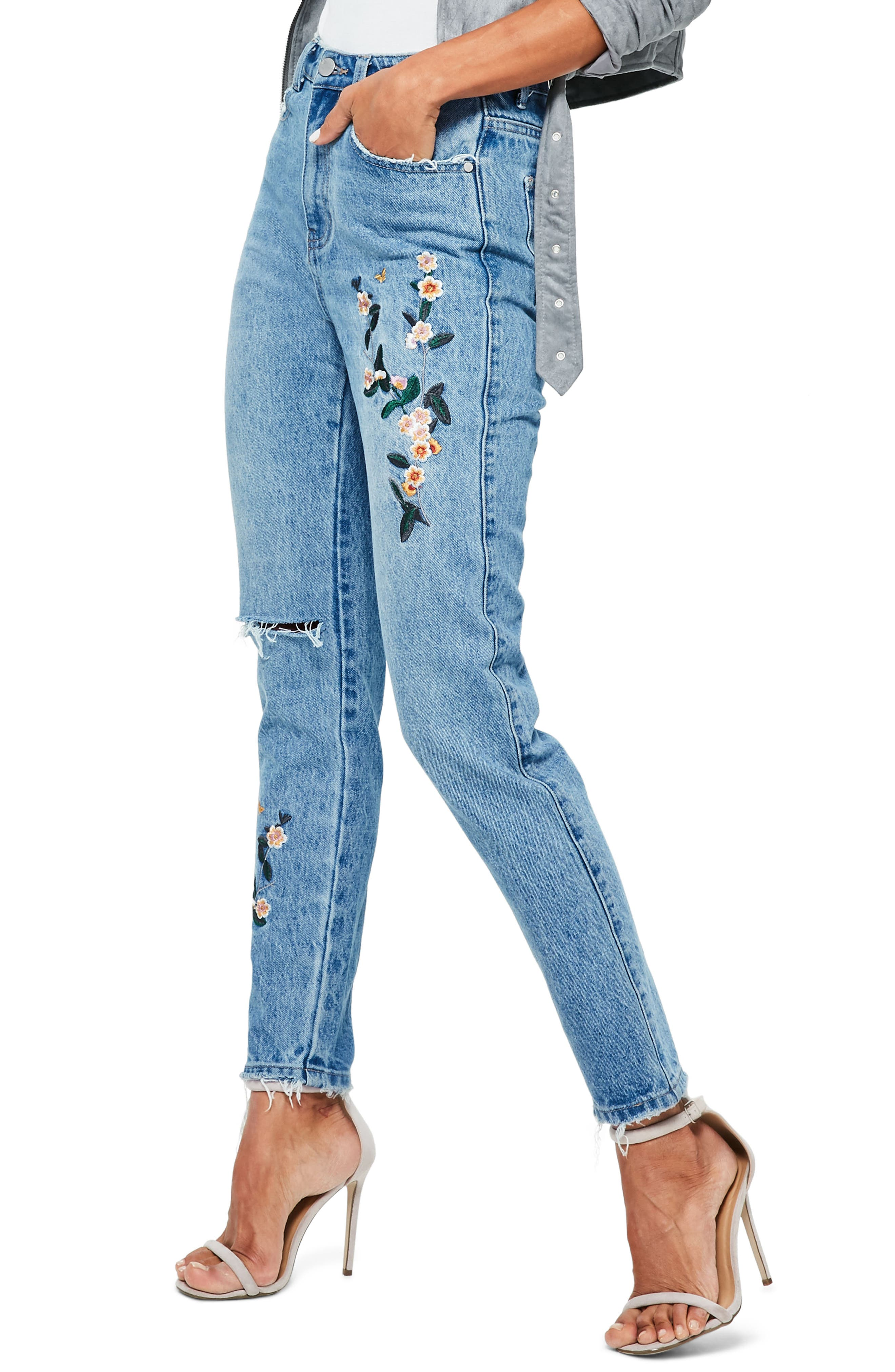 Riot Ripped High Waist Embroidered Jeans,                             Alternate thumbnail 3, color,                             Blue