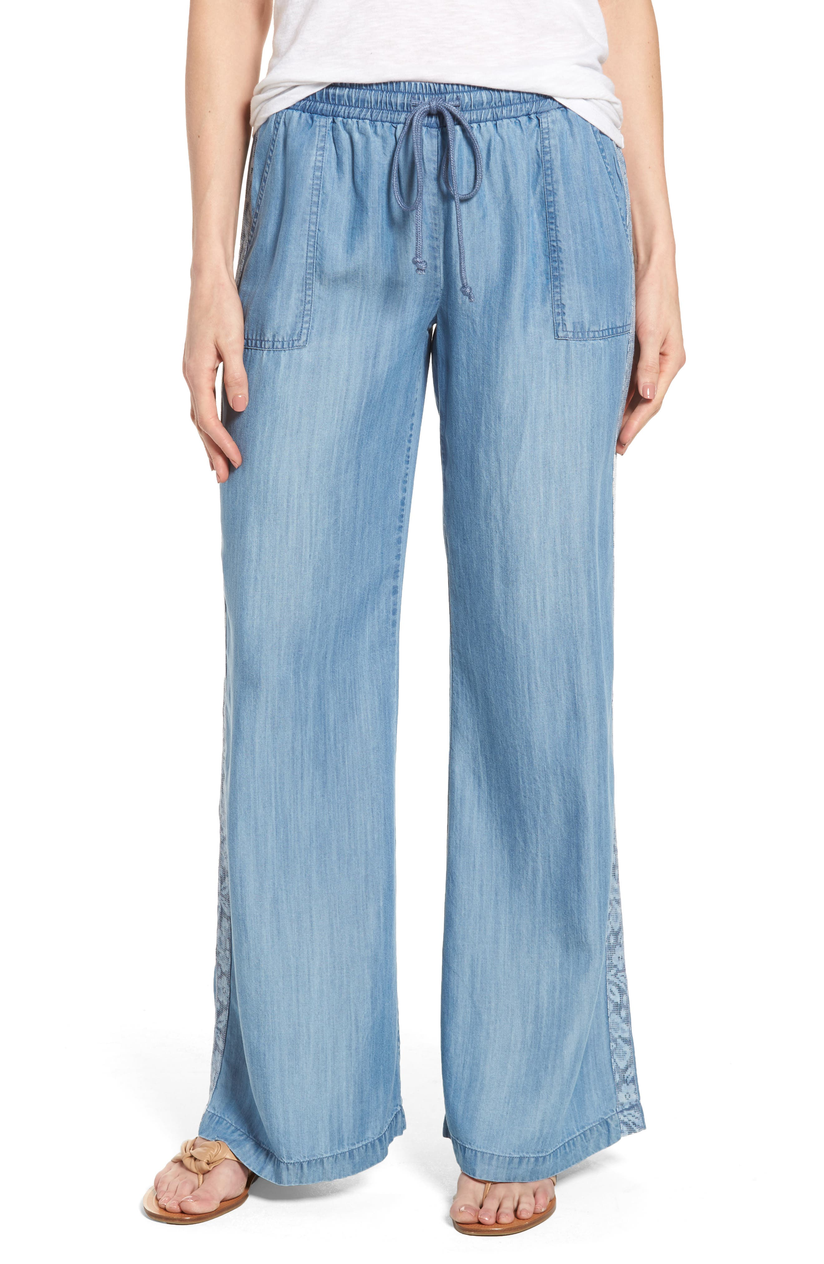 Drawstring Wide Leg Pants,                         Main,                         color, Medium Blue
