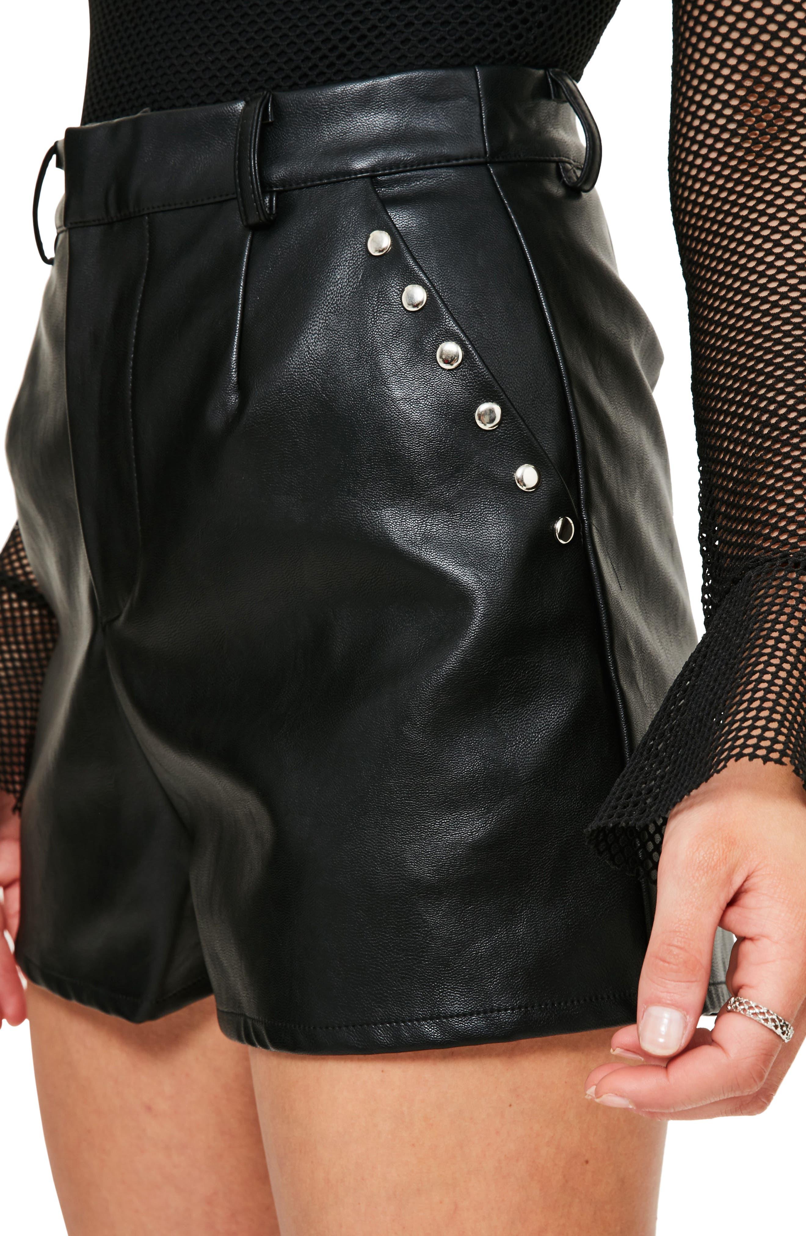 Alternate Image 3  - Missguided Stud Pocket Faux Leather Shorts
