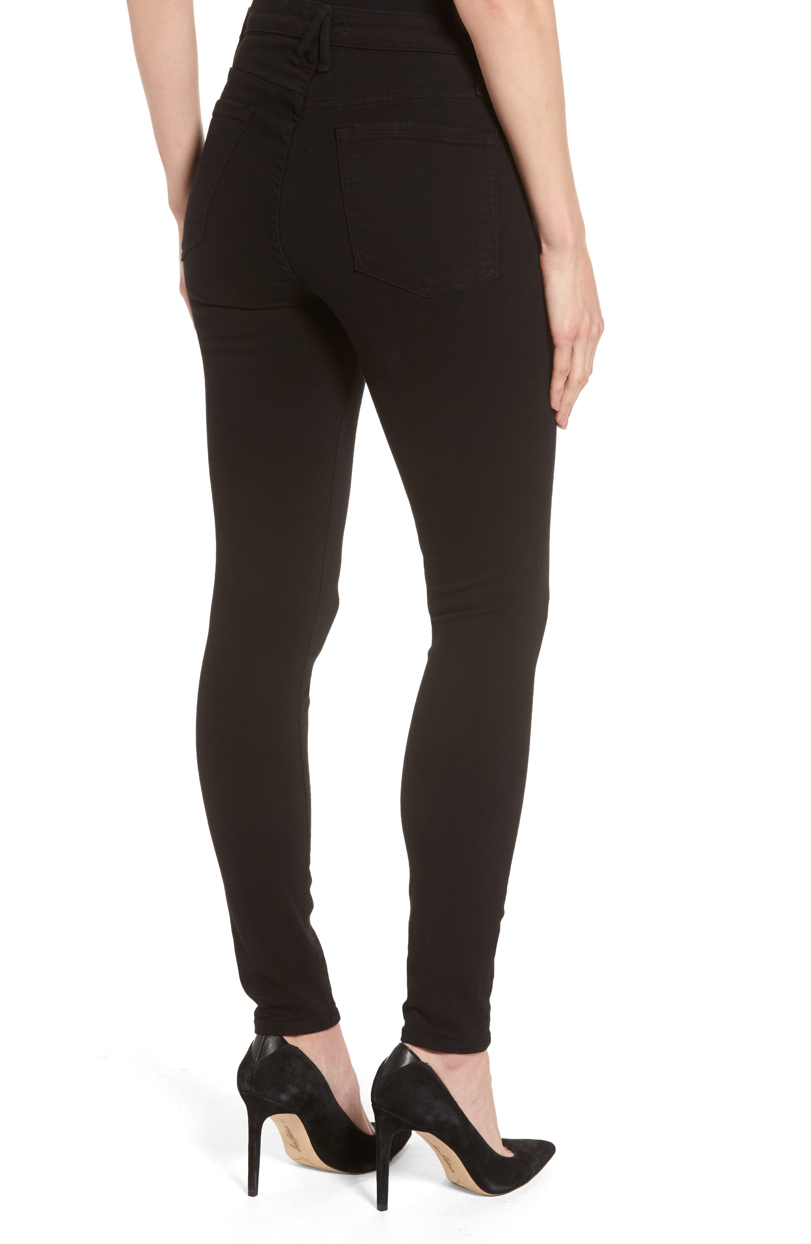 Alternate Image 2  - Good American High Waist Side Zip Skinny Jeans (Black 001) (Extended Sizes)
