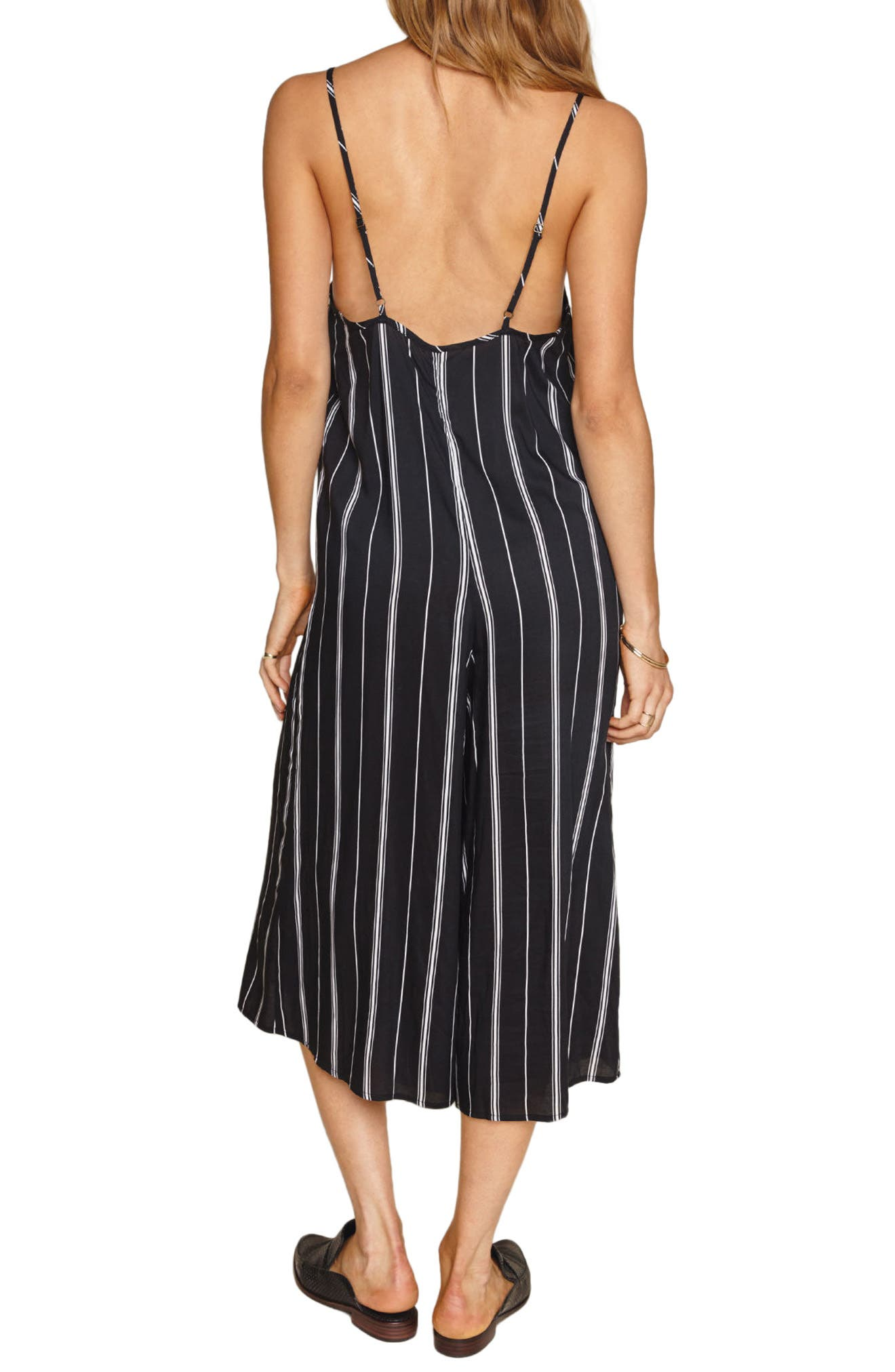 Colton Stripe Crop Jumpsuit,                             Alternate thumbnail 3, color,                             Black Sands