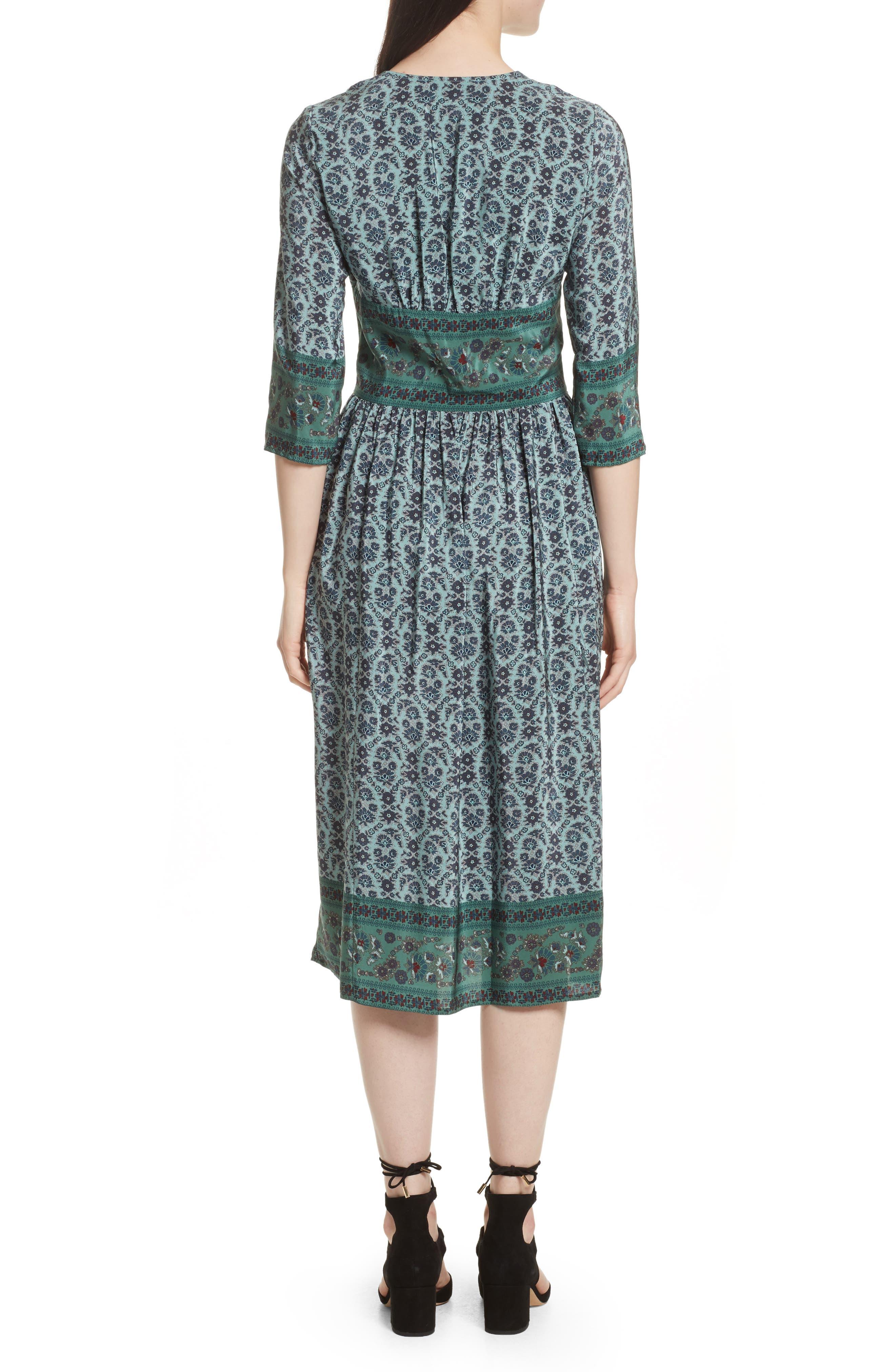 Print Silk Midi Dress,                             Alternate thumbnail 2, color,                             Jade