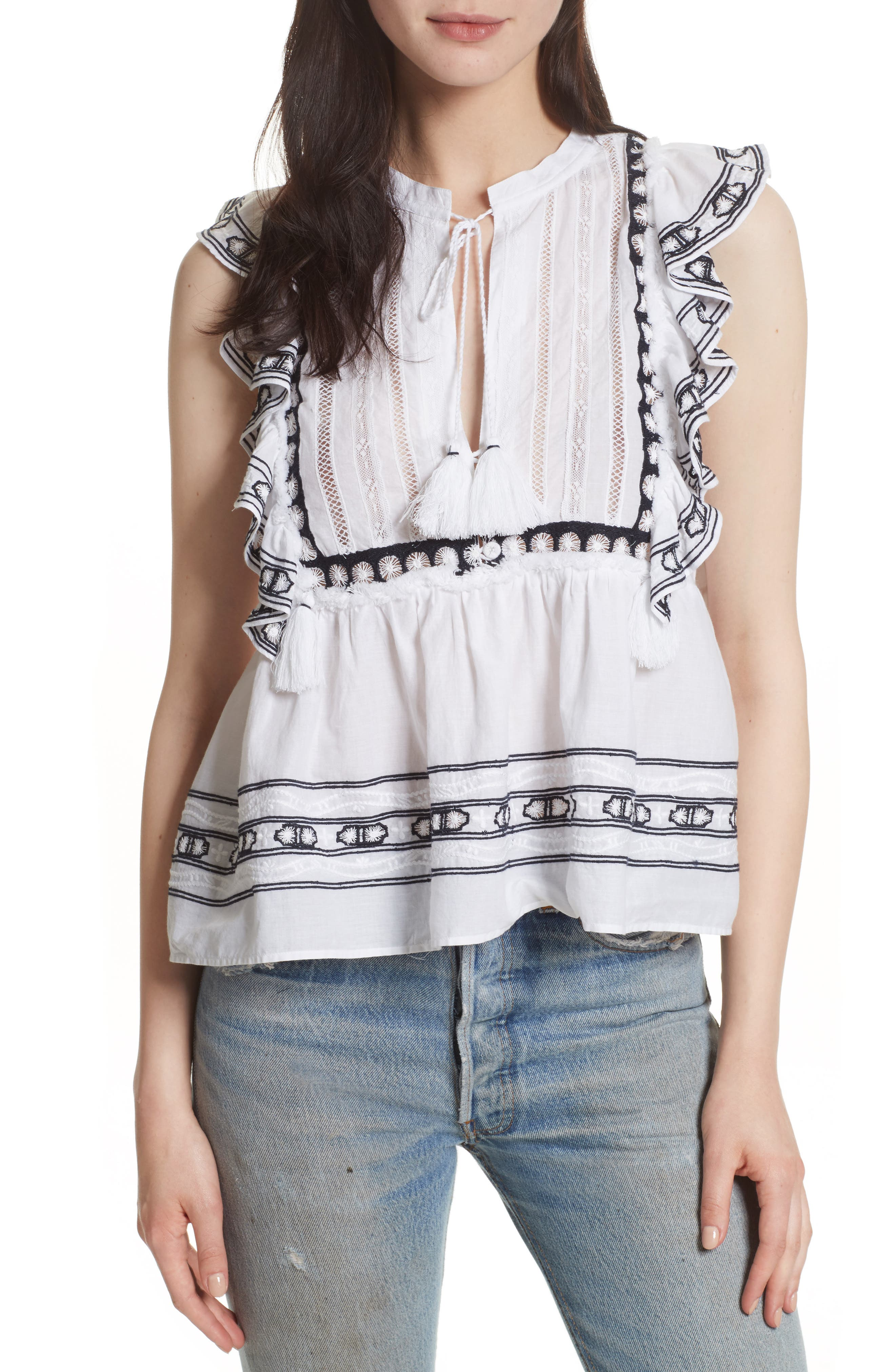 Lace Bib Ruffle Tank,                         Main,                         color, White/ Navy Emb