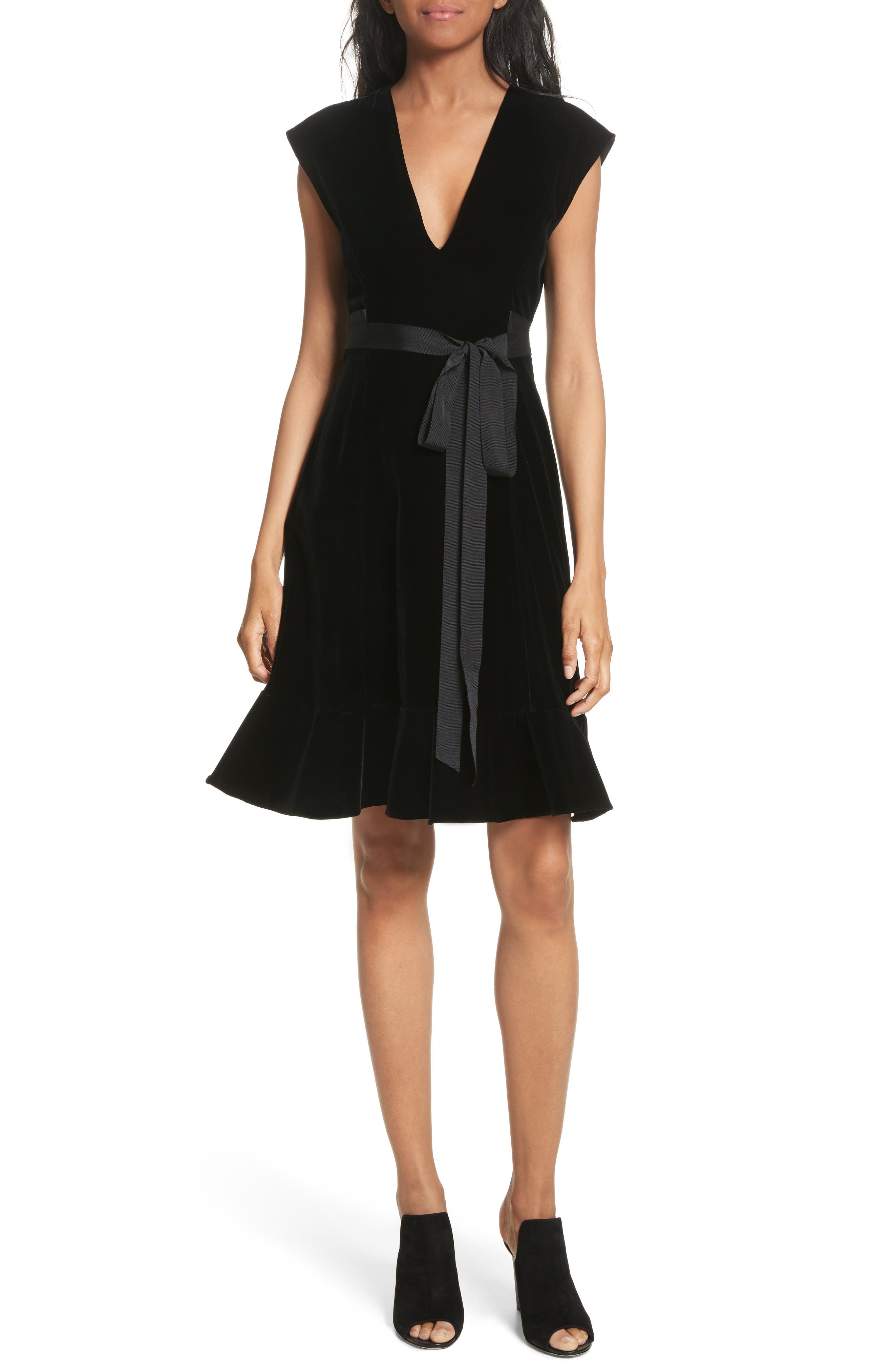 Derek Lam 10 Crosby Velvet Fit & Flare Dress