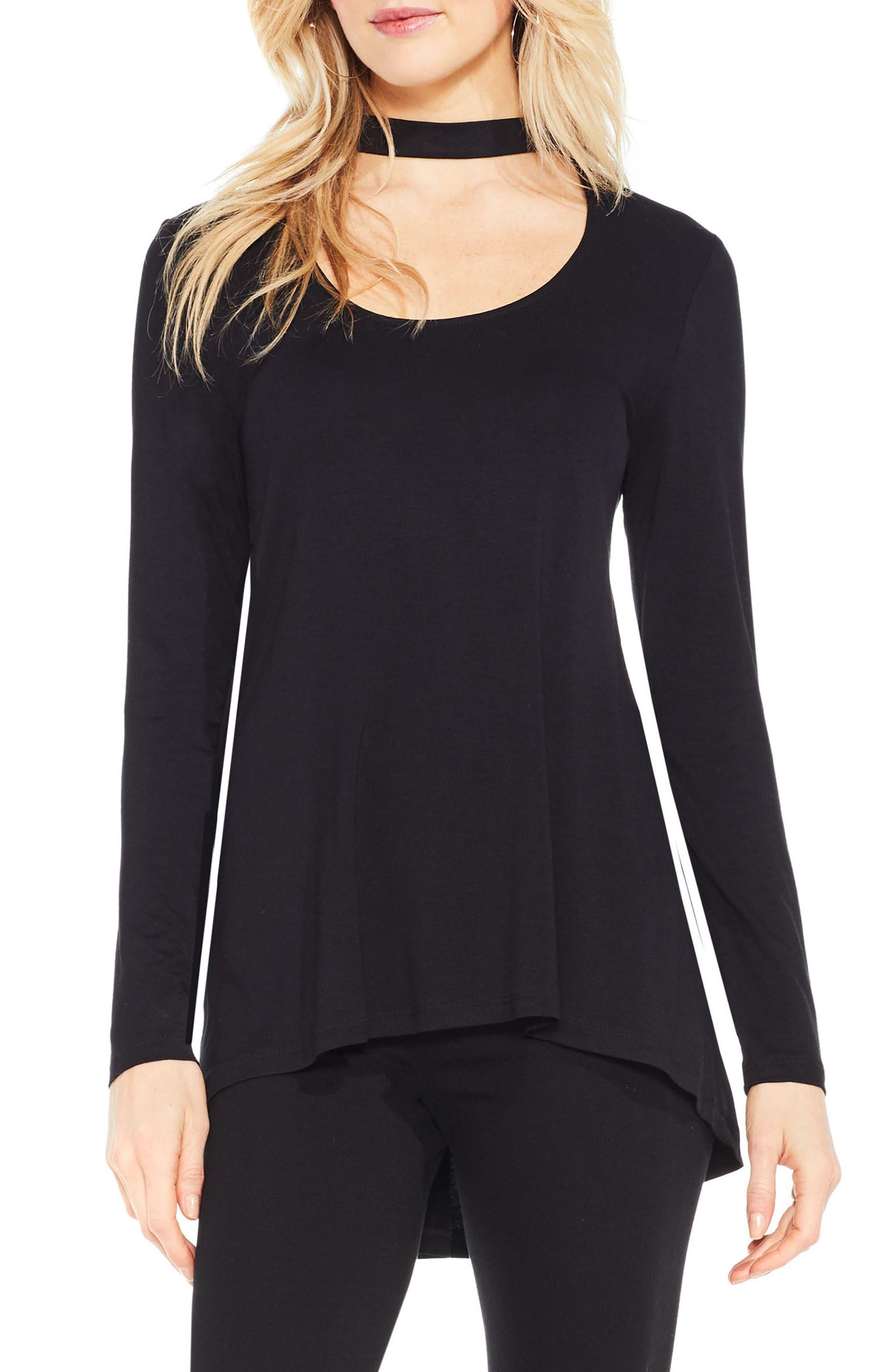 Mock Choker Neck Long-Sleeve Top,                         Main,                         color, Rich Black